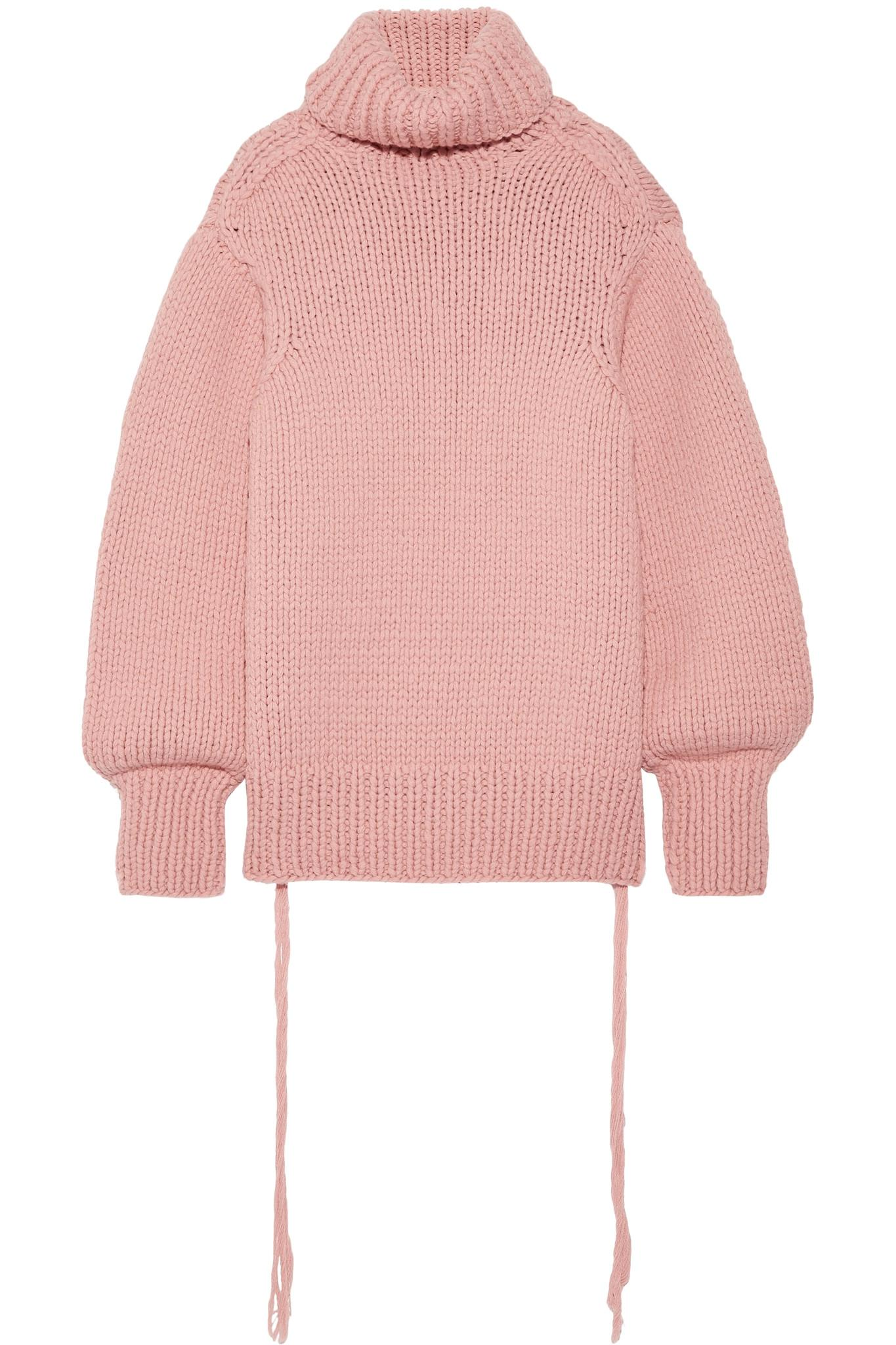 Lyst - JOSEPH Oversized Wool Turtleneck Sweater in Pink e29e8ff9e