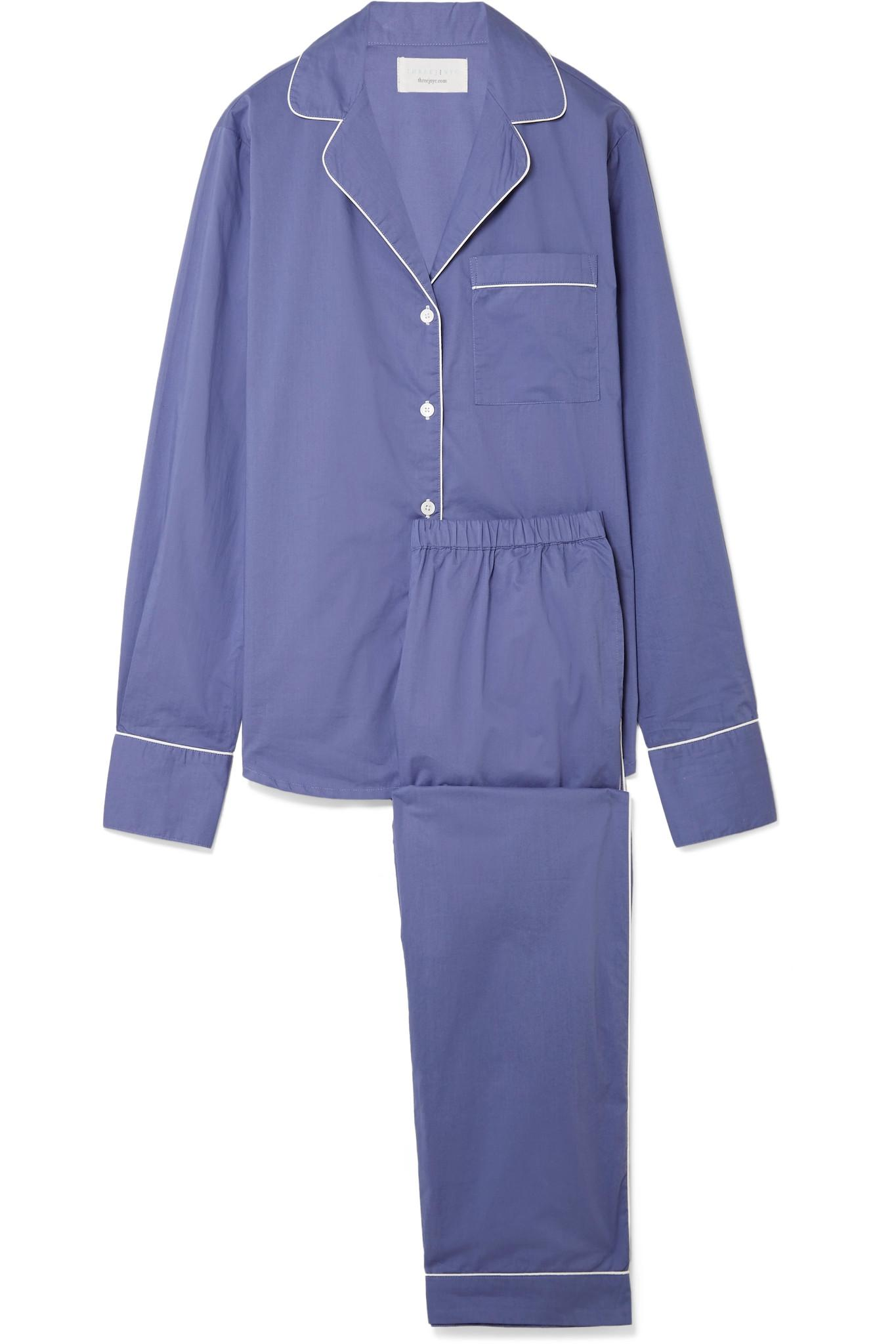 Moss Cotton-poplin Pajama Set - Blue Three J NYC Cheap Sale Shop For Clearance Get Authentic Cheap Supply Cheap Sale 2018 New 4ufXu