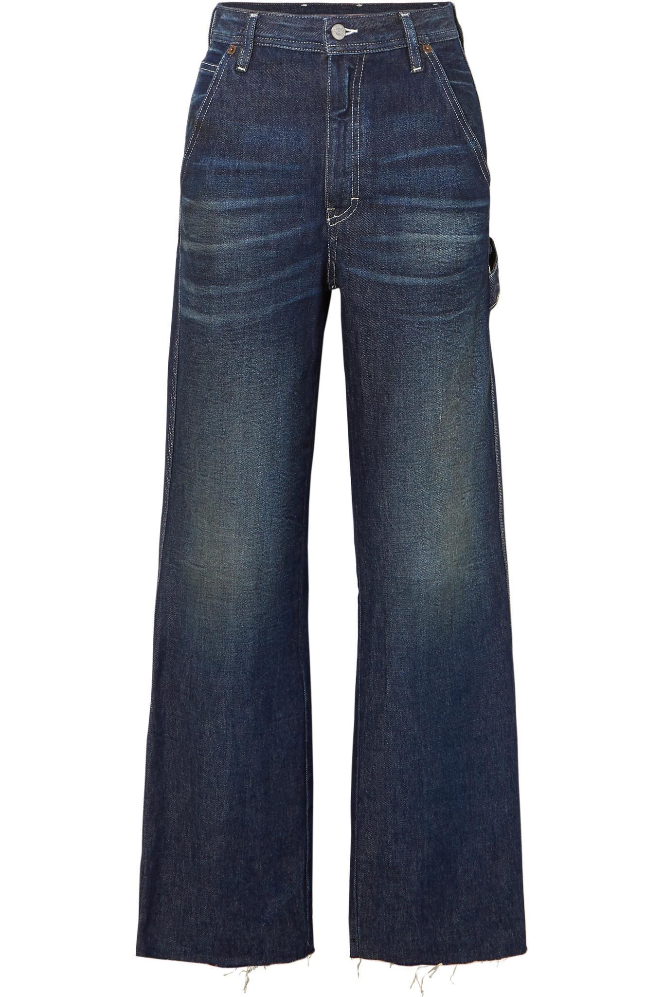 Quality Frayed High-rise Wide-leg Jeans - Dark denim Maison Martin Margiela Great Deals Cheap Online Clearance Choice uLZDcf7