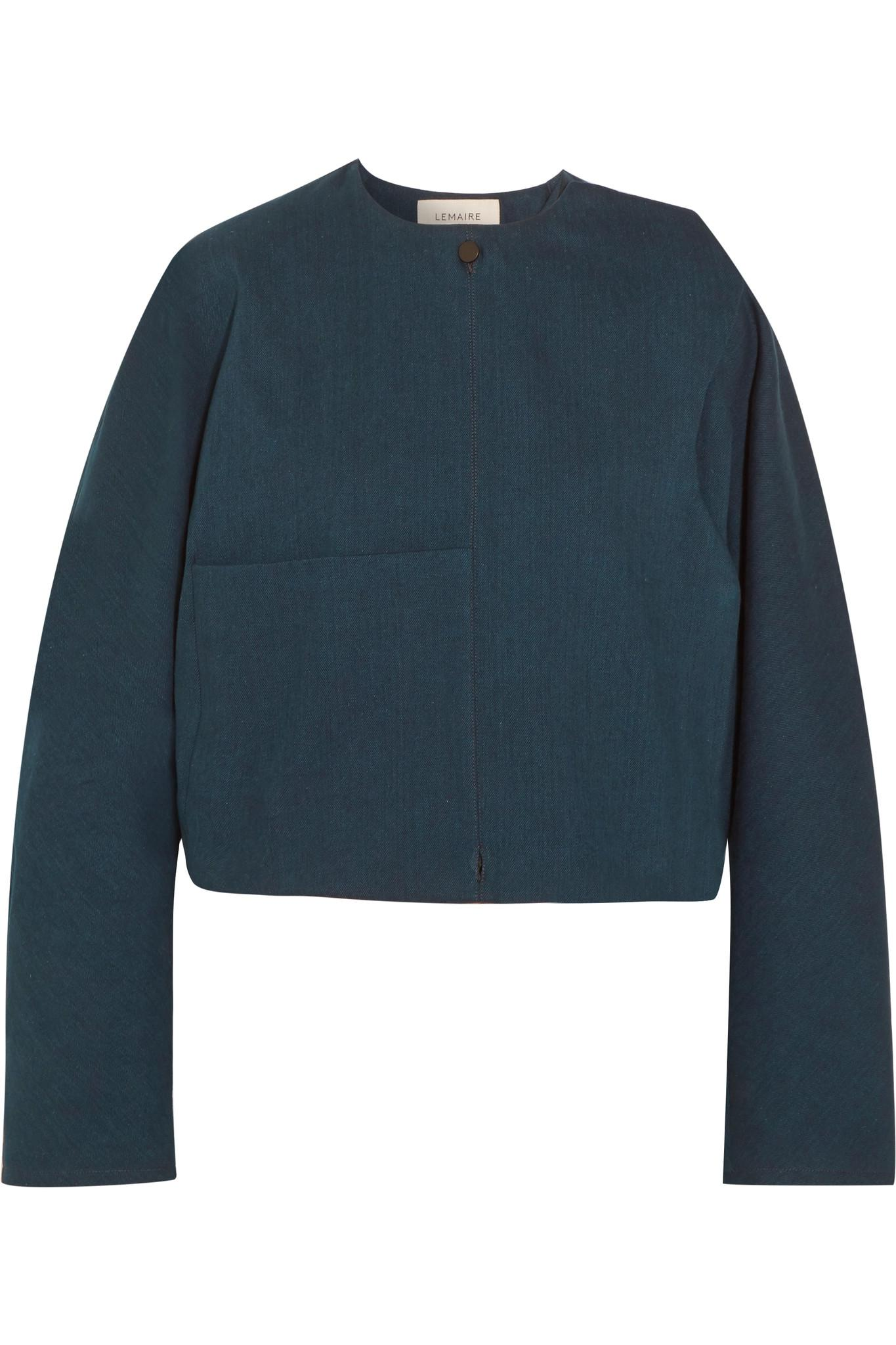 Lemaire Oversized Cropped Denim Jacket in Blue | Lyst