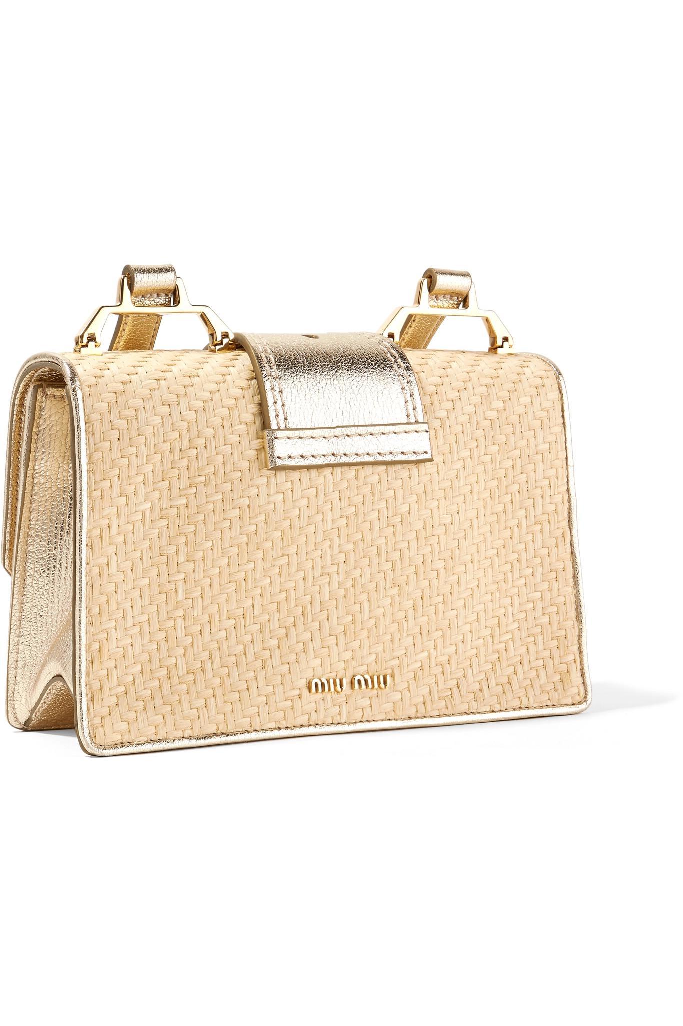 848258d38523 Lyst - Miu Miu Miu Lady Embellished Raffia And Textured-leather ...