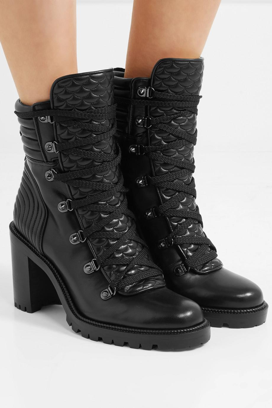 35815c0413f7 ... authentic christian louboutin black mad 70 spiked quilted leather ankle  boots lyst. view fullscreen 2564b