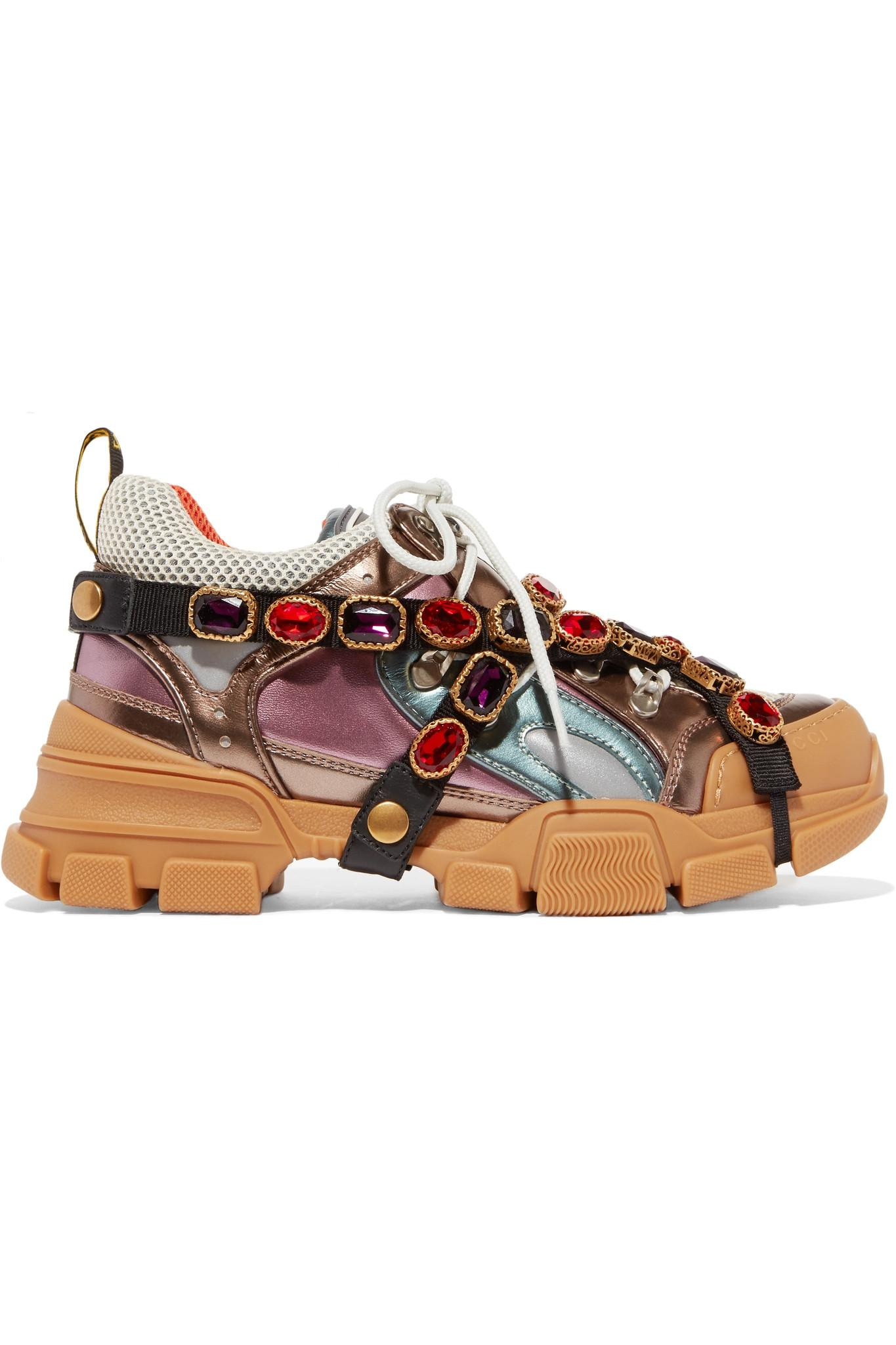 24ecbf536fc Lyst - Gucci Flashtrek Sneakers With Removable Crystals in Brown