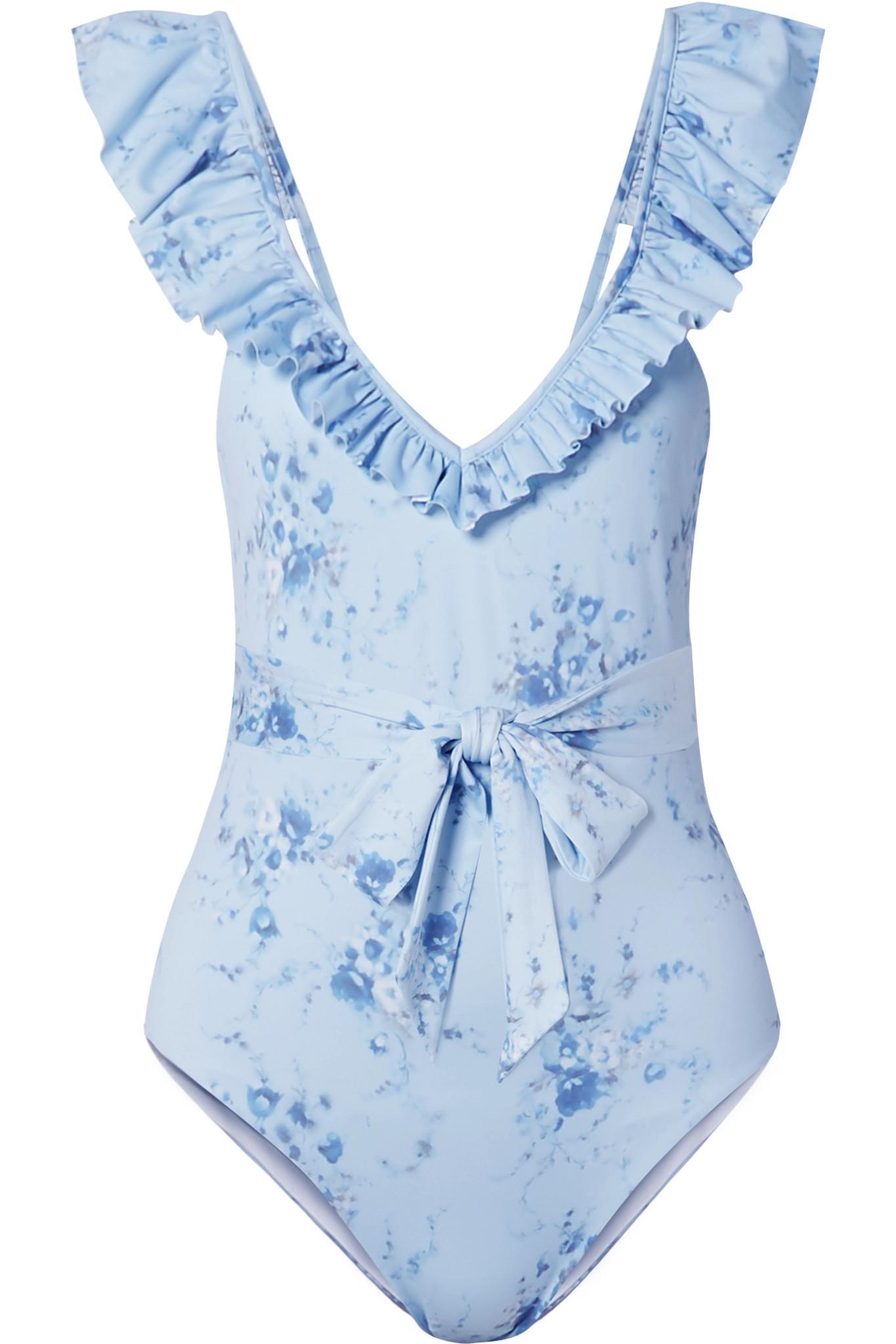 188a8ff190f LoveShackFancy. Women's Blue Jasper Belted Ruffled Floral-print Swimsuit