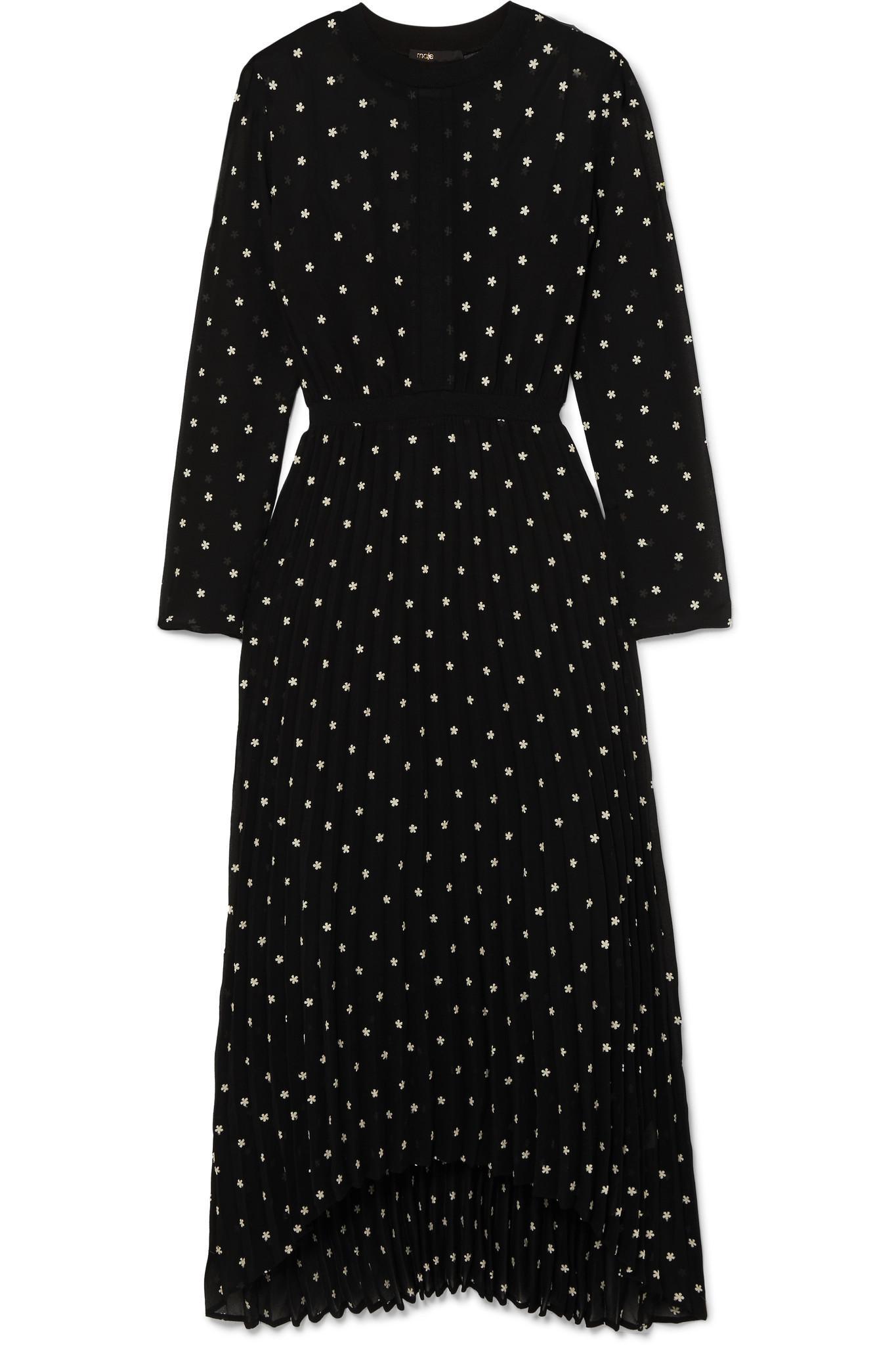 32db82f056 Maje Embroidered Chiffon Midi Dress in Black - Lyst