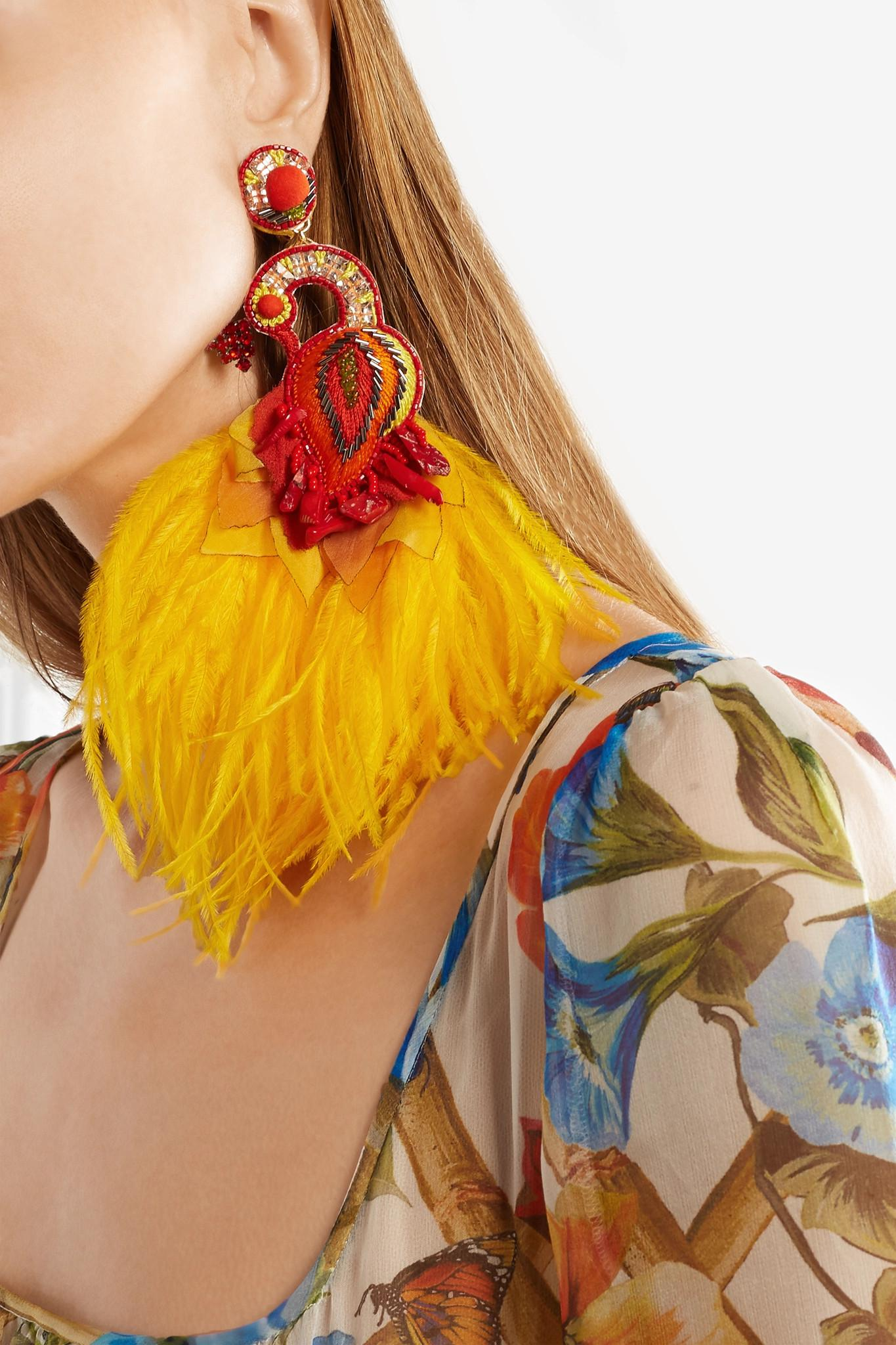 Ranjana Khan Passerine Feather And Crystal Clip Earrings - Yellow IlBpFsQv