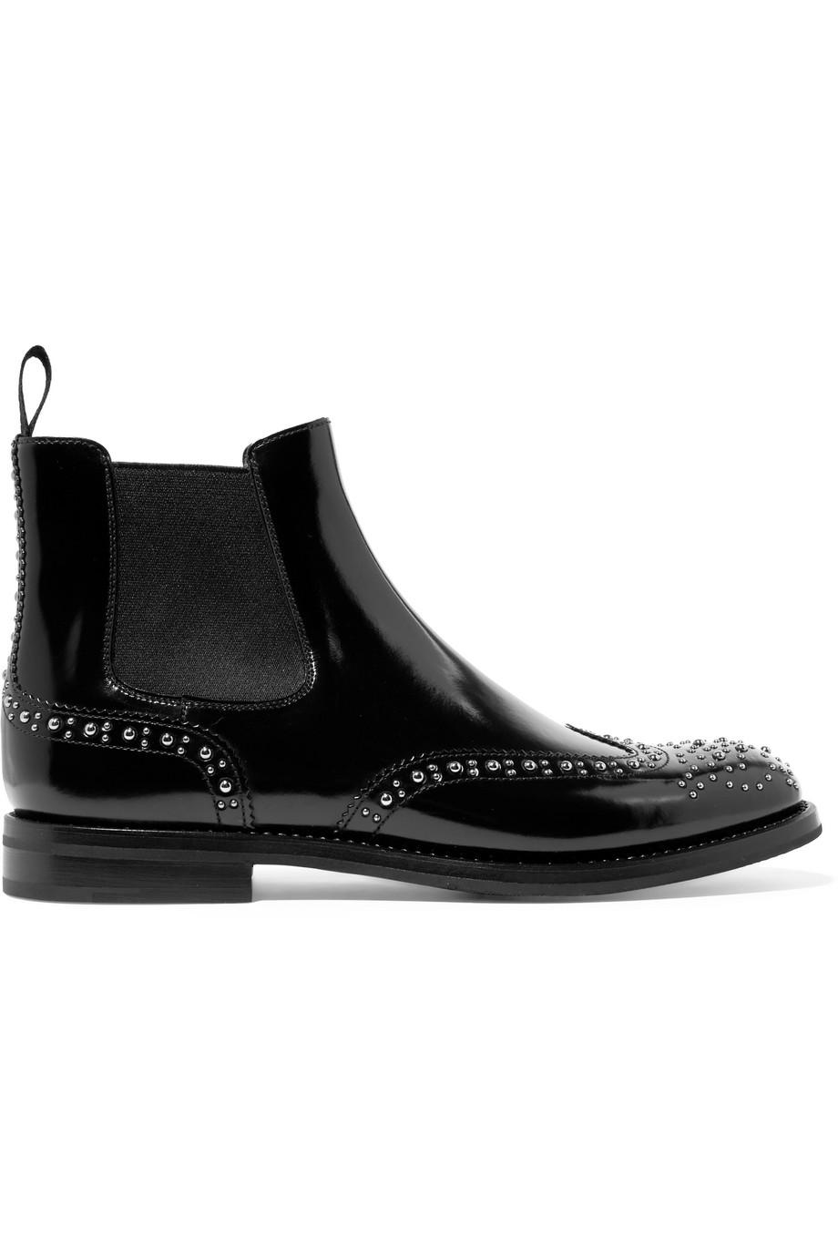 Ketsby Met Studded Glossed-leather Chelsea Boots - Black Churchs 27MWUE