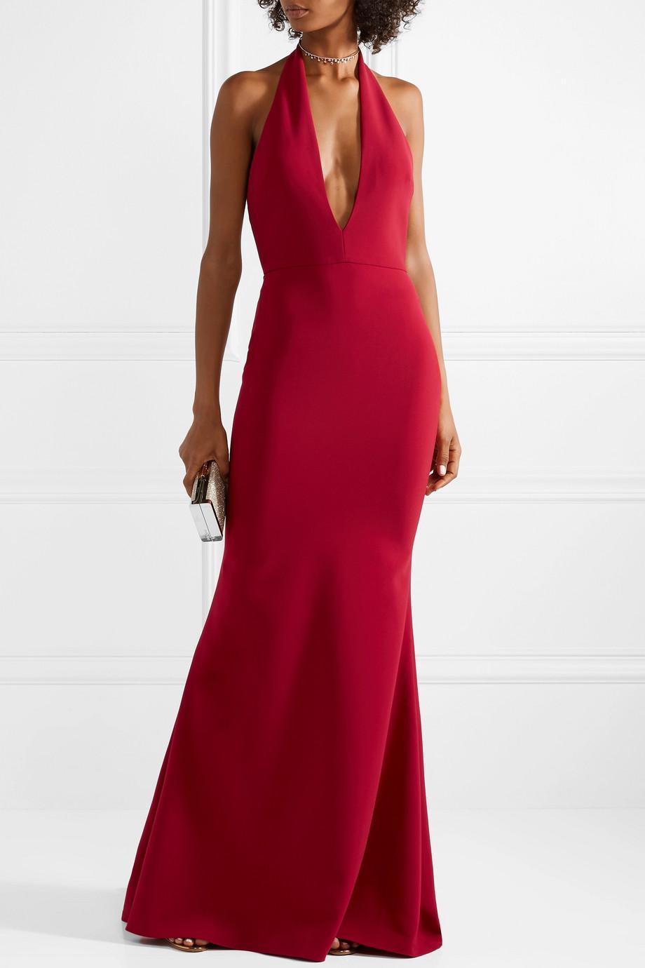Lyst - Reem Acra Crepe Halterneck Gown in Red