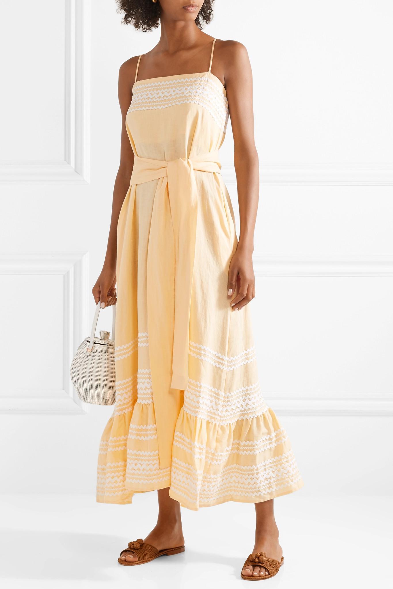 664be990a5 Lisa Marie Fernandez - Yellow Fiesta Rickrack-trimmed Linen Dress - Lyst.  View fullscreen