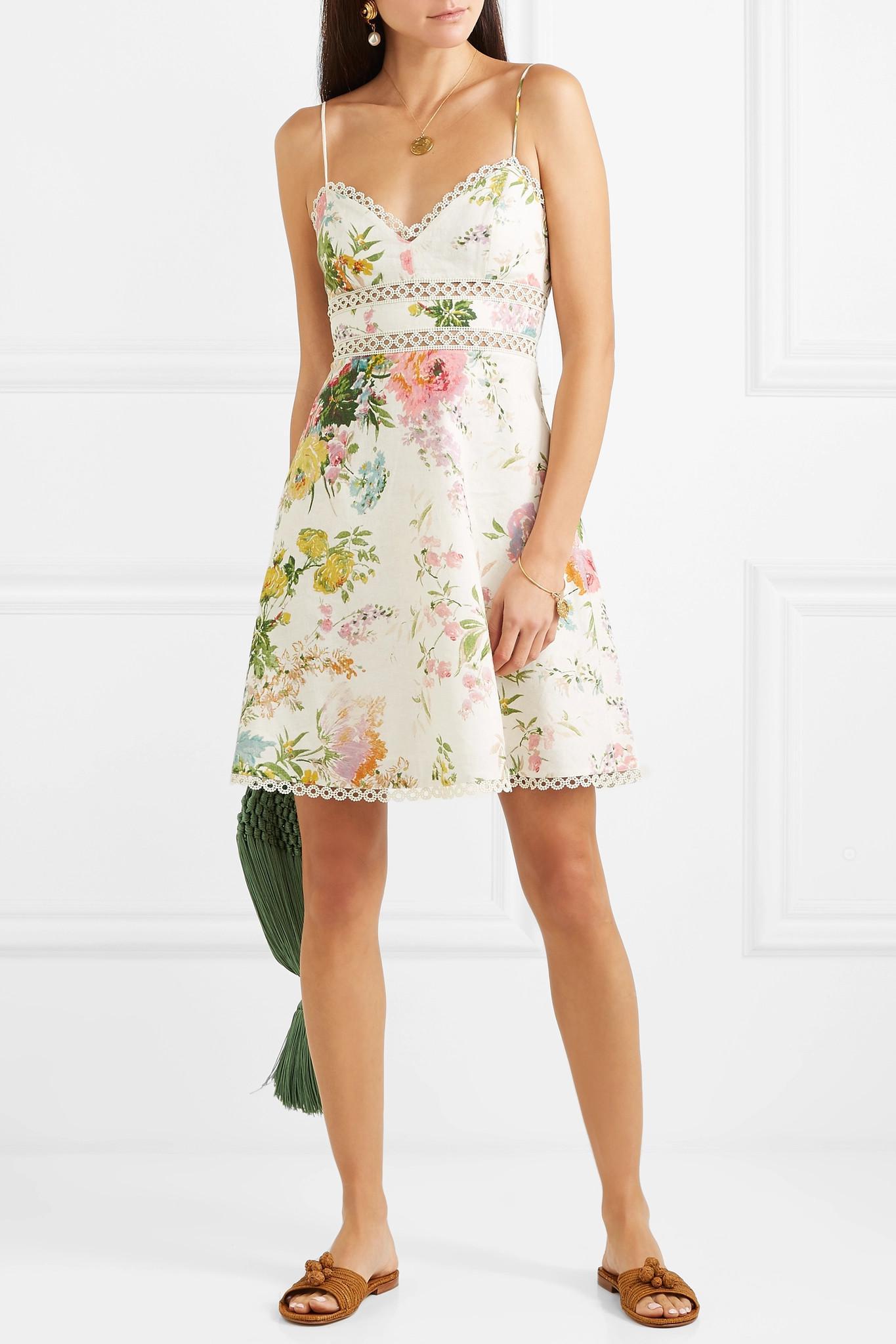 aff3d076326 Zimmermann - Multicolor Heather Lace-trimmed Floral-print Linen Mini Dress  - Lyst. View fullscreen