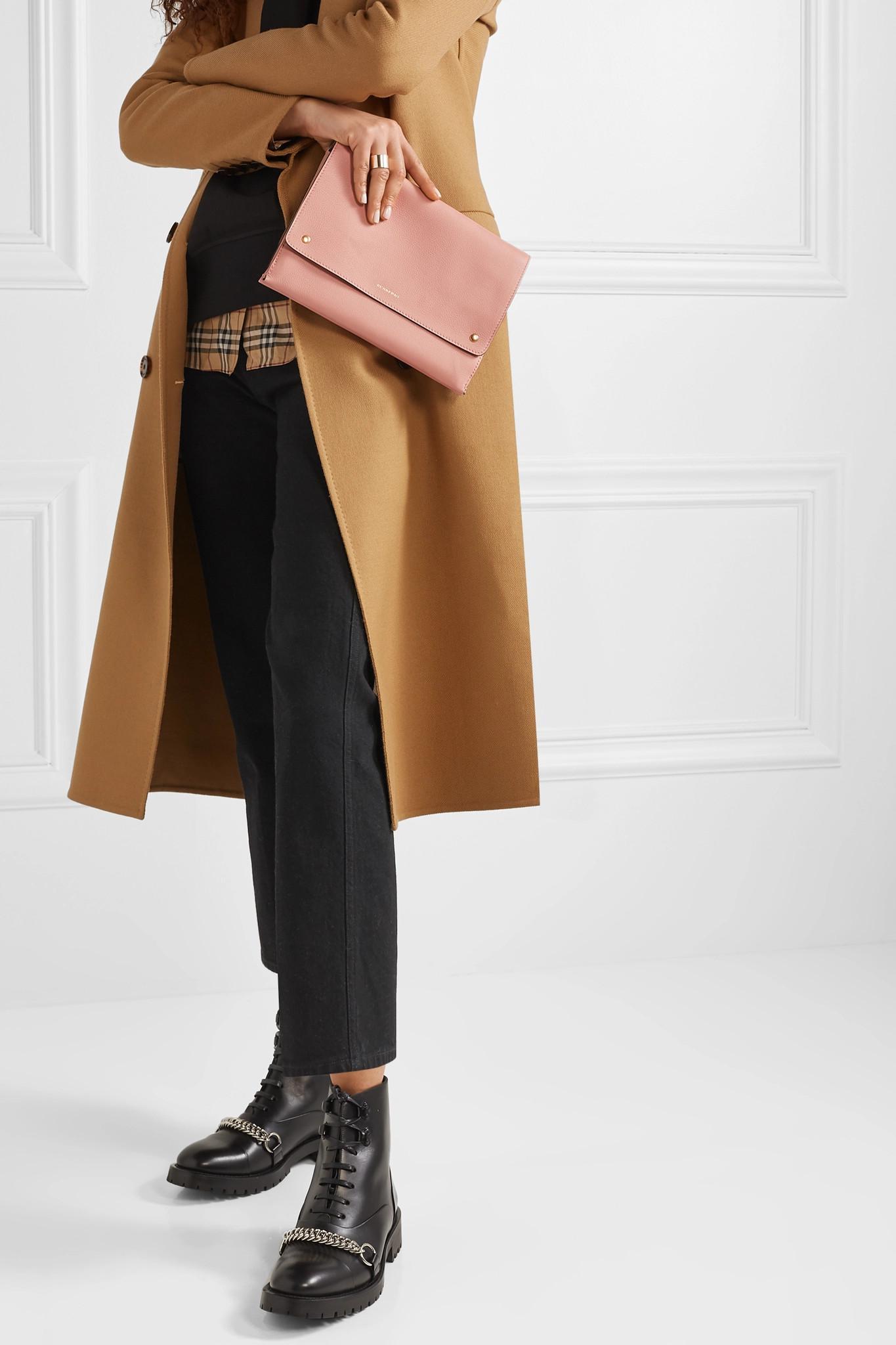 Burberry - Pink Textured-leather Shoulder Bag - Lyst. View fullscreen 53ff8dea21