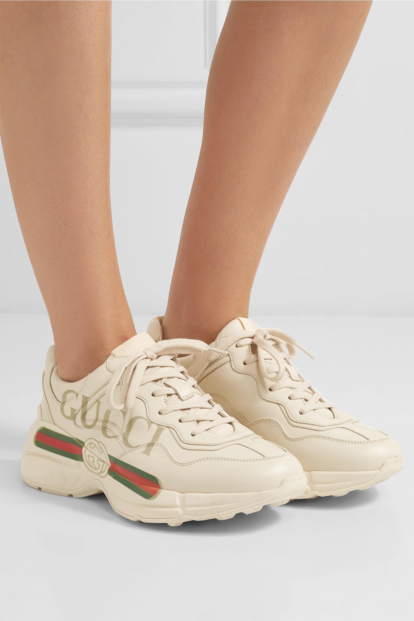 25e558616b8 Gucci - White Rhyton Logo-print Leather Sneakers - Lyst. View fullscreen