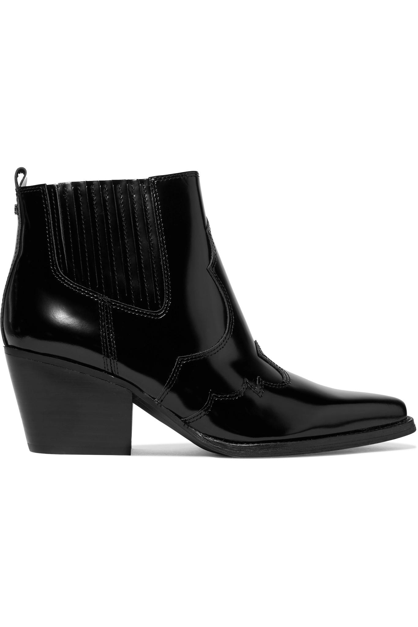 51f0a961b9f9a Lyst - Sam Edelman Winona Glossed-leather Ankle Boots in Black ...