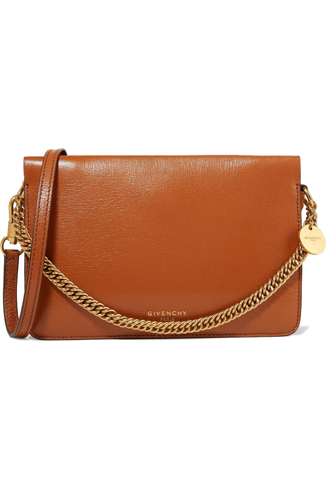 6273ee7dff0 Givenchy Gv Cross Suede-trimmed Leather Shoulder Bag in Brown - Lyst