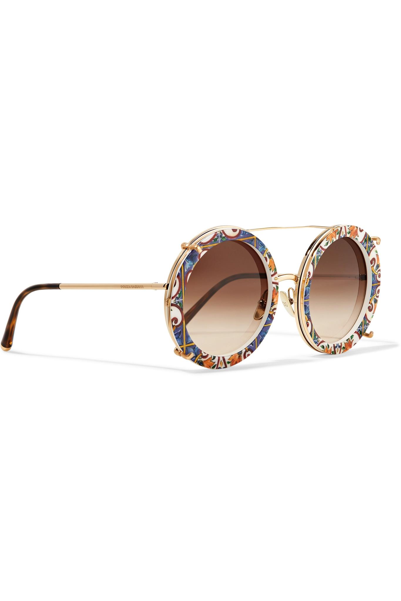 af0f8f25ae6c Dolce   Gabbana - Metallic Round-frame Printed Acetate And Gold-tone  Convertible Sunglasses. View fullscreen