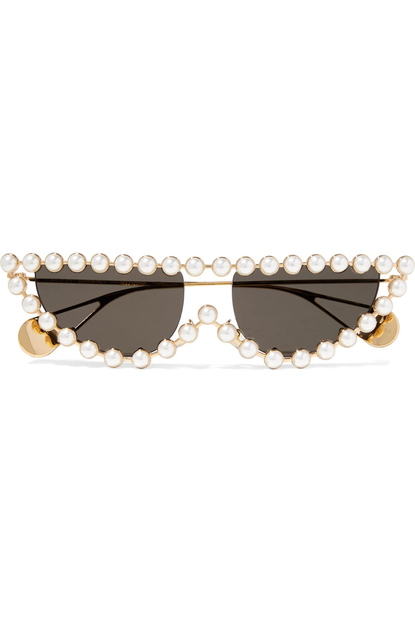 6e46cedd4d Lyst - Gucci Cat-eye Faux Pearl-embellished Gold-tone Sunglasses in ...