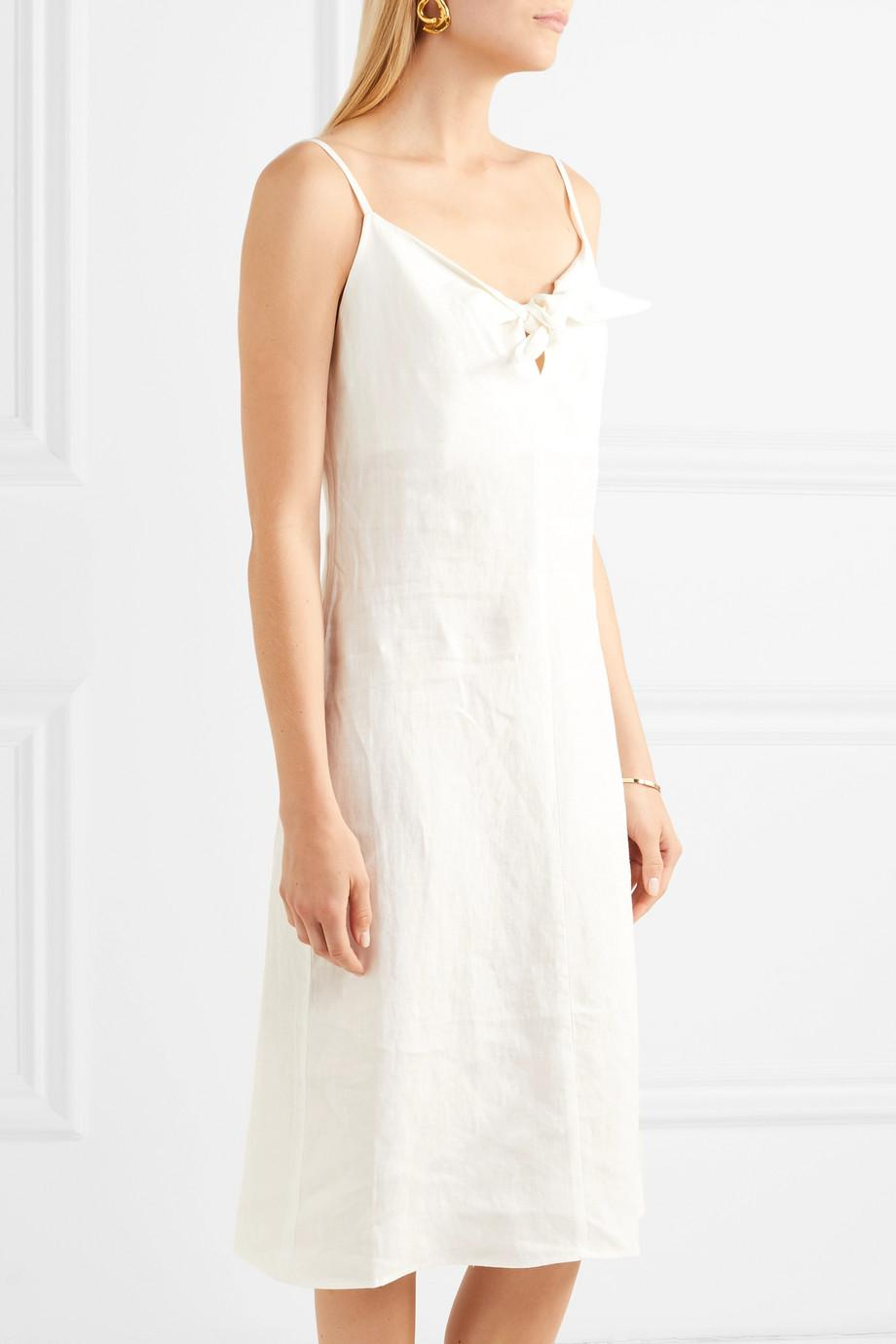 Oriska Tie-front Linen Midi Dress - Cream Simon Miller