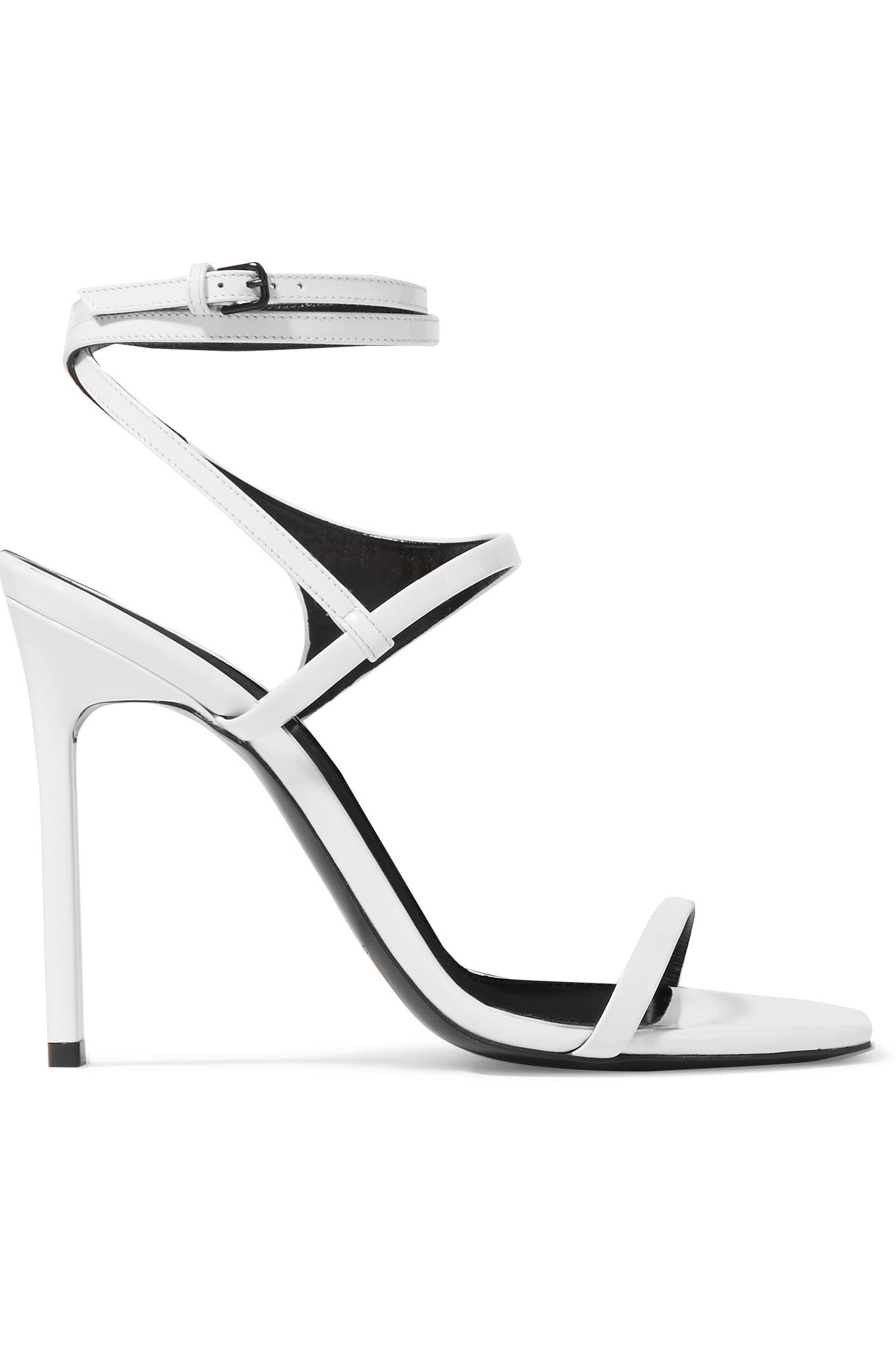 1a44fe7e6c37 Saint Laurent Amber Glossed-leather Sandals in White - Lyst