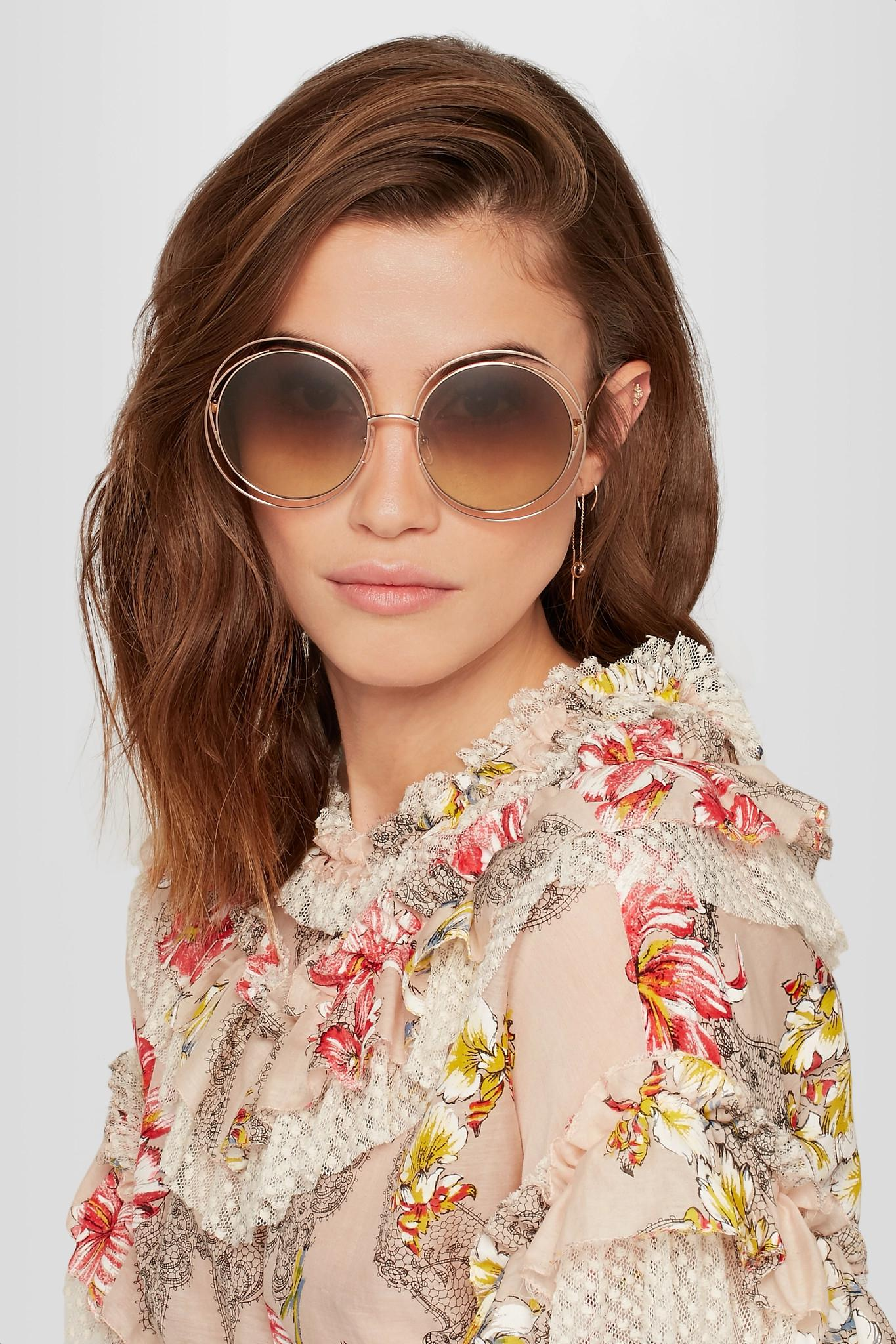 f104613bf5a4 Chloé Carlina Round-frame Rose Gold-tone Sunglasses in Brown - Lyst