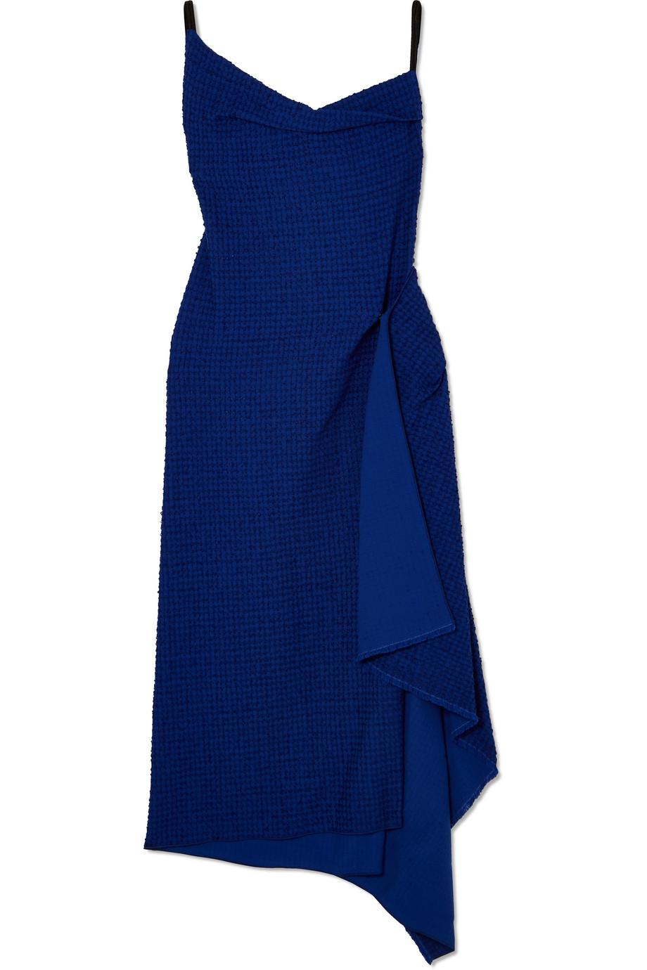 Draped Cotton-blend Bouclé Dress - Blue Roland Mouret RcFywqdx