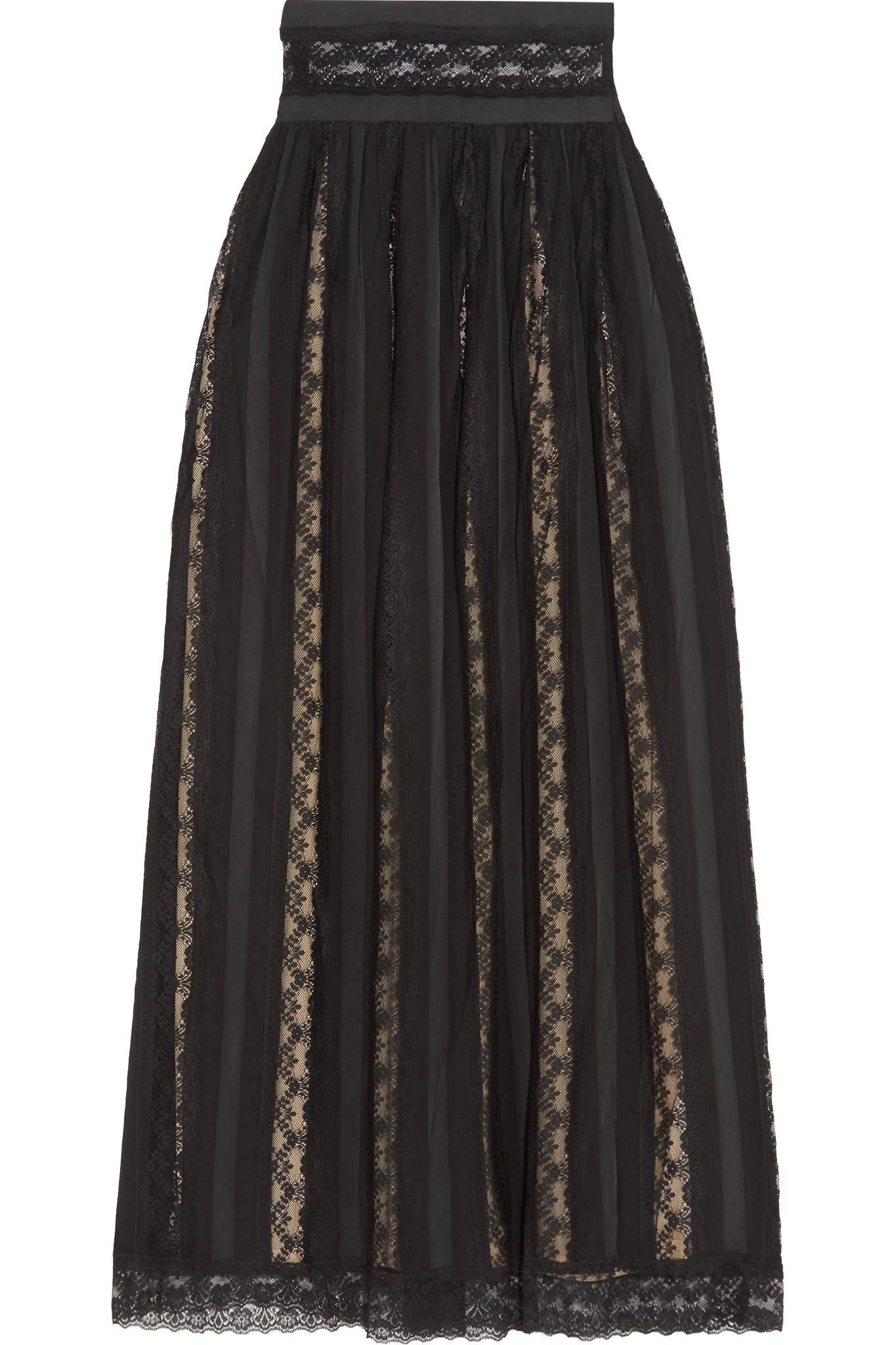 Wiki Sale Online Collections Cheap Price Lace And Chiffon Maxi Skirt - Black Balmain B9j9Qmn
