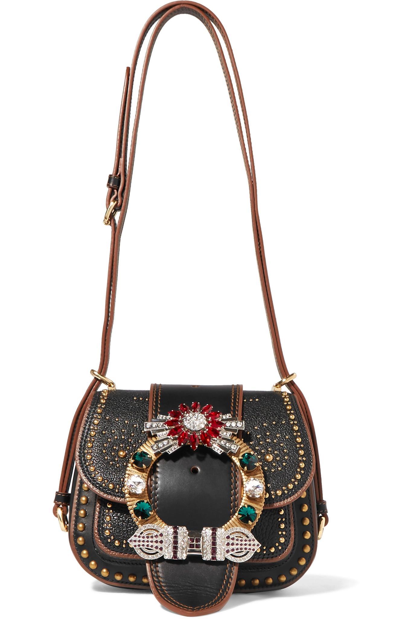 764420dfbb08 Lyst - Miu Miu Dahlia Embellished Leather Shoulder Bag in Black