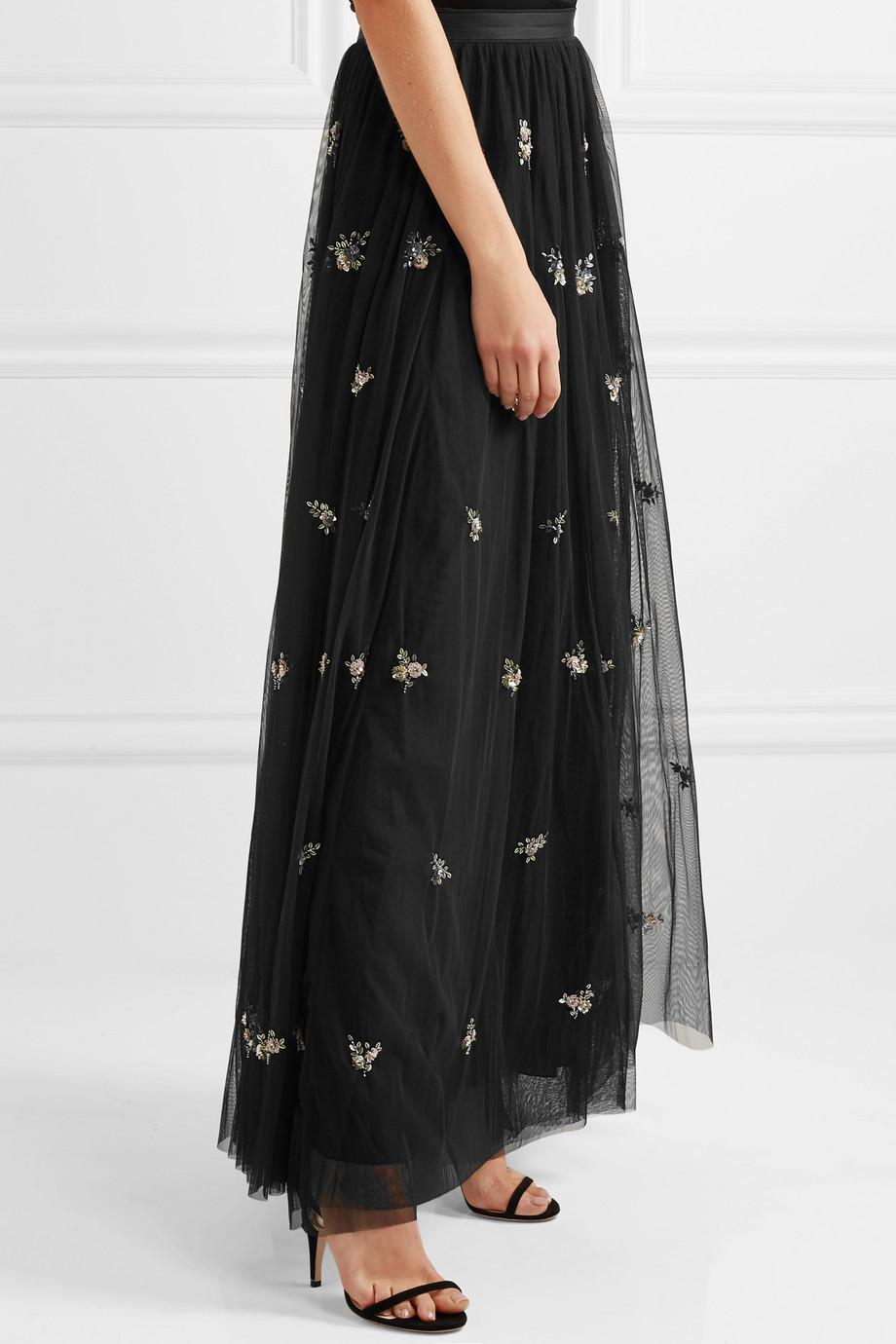 14715d05b3f Needle   Thread Woman Lumiere Embellished Tulle Maxi Skirt Black in ...