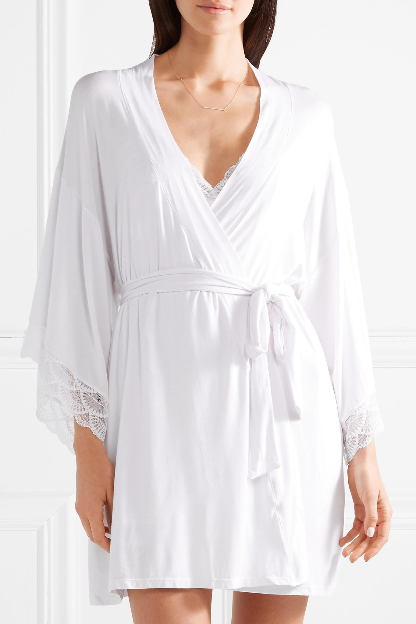 Matilda The Mademoiselle Lace-trimmed Stretch-modal Jersey Robe - White Eberjey Clearance Shop Offer Cost Sale Online Wide Range Of Cheap Online Footlocker Finishline For Sale Cheap Sale Choice FWS7qWX4T