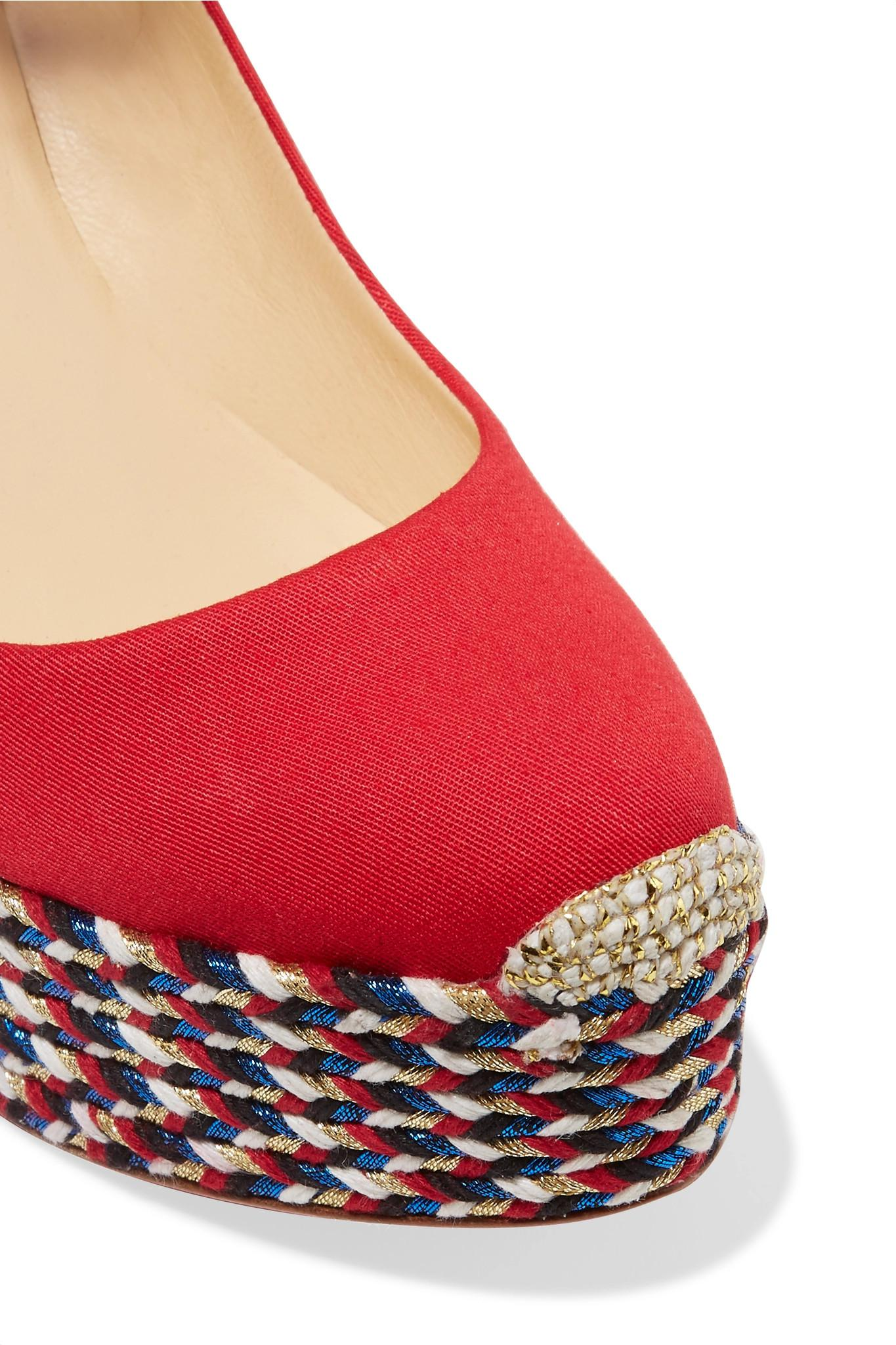 42828f40c34 Christian Louboutin - Red Barbaria Zeppa 120 Canvas Wedge Espadrilles -  Lyst. View fullscreen