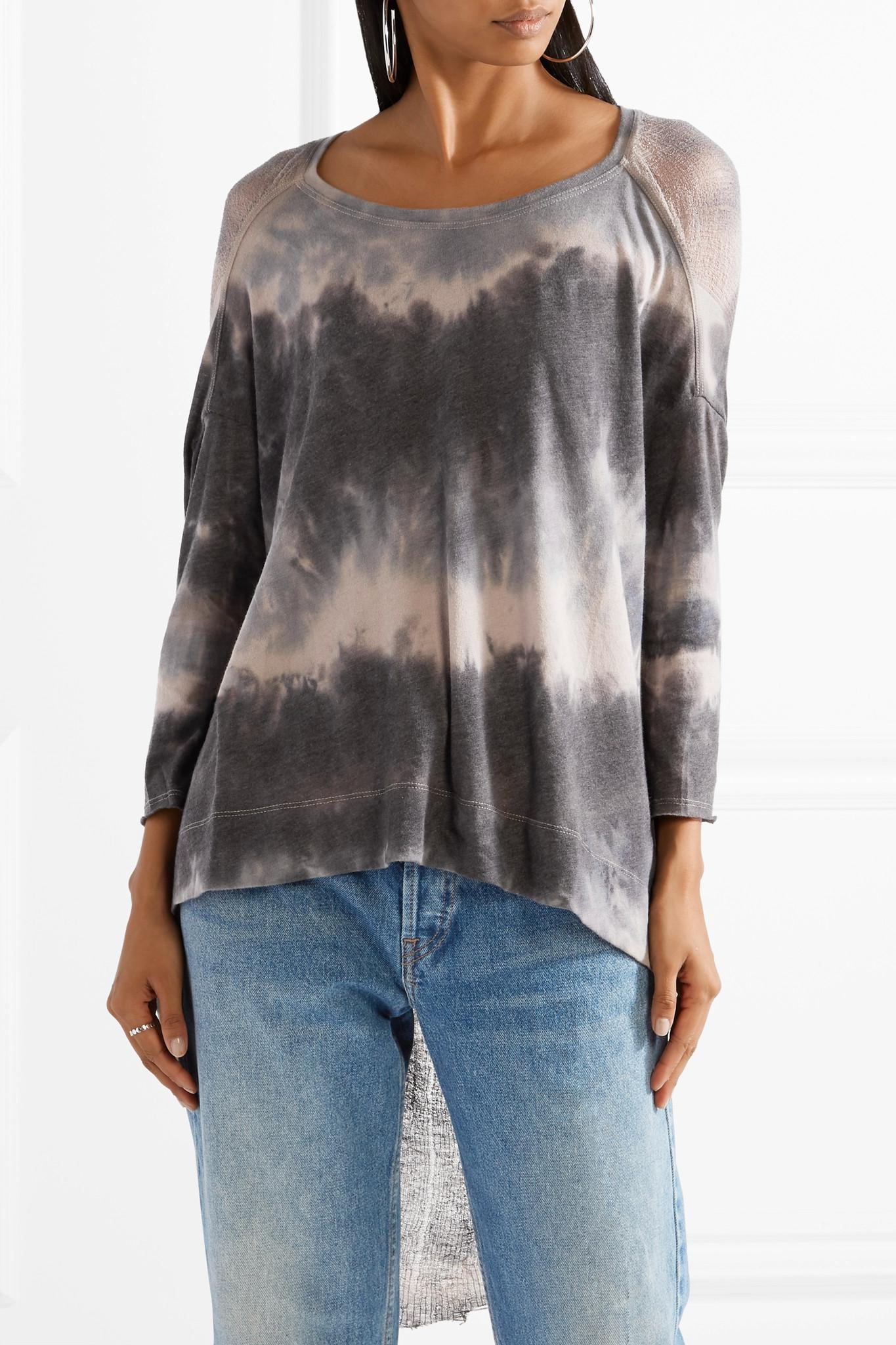 Distressed Tie-dyed Cotton-blend Jersey Top - Gray Raquel Allegra Recommend Online hj7oIh