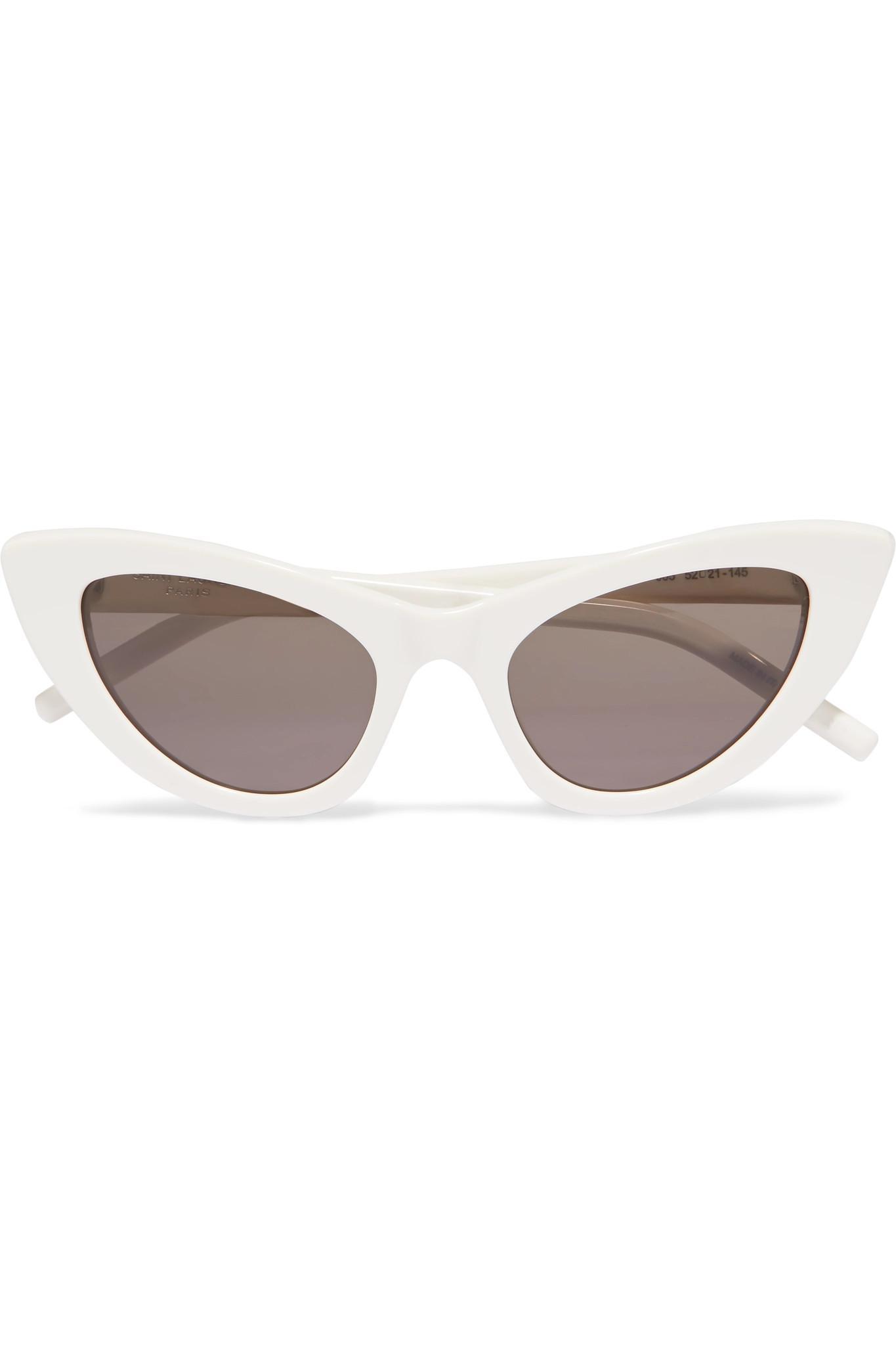 Saint Laurent. Women's White New Wave Lily Cat-eye Acetate Sunglasses