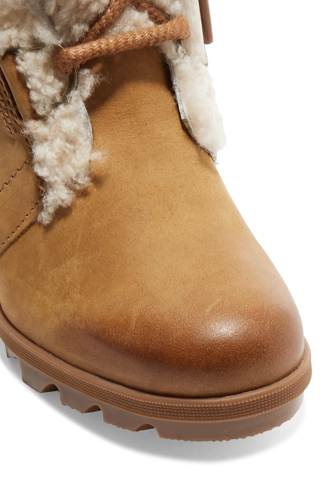 b4901f5da8d3 Sorel - Brown Joan Of Arctic Wedge Ii Shearling-trimmed Waterproof Leather  And Suede Ankle. View fullscreen