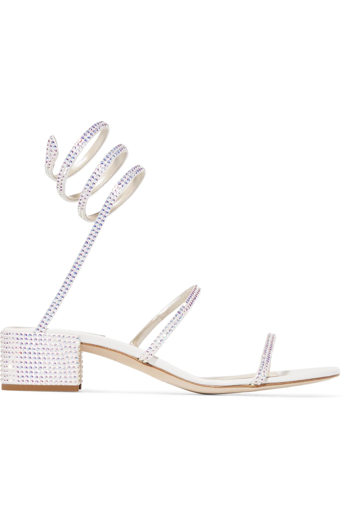 ff906e664e665c Rene Caovilla. Women s White Cleo Crystal-embellished Satin And Leather  Sandals