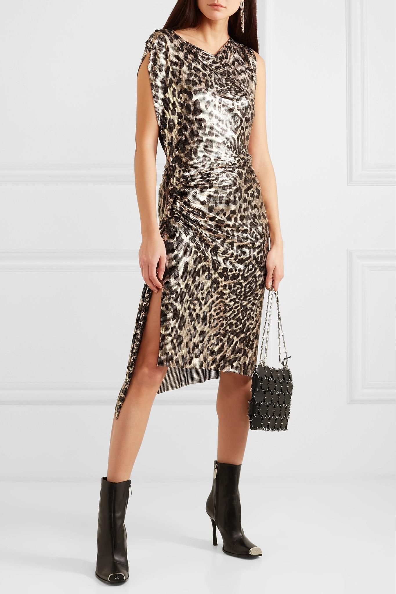 Paco Rabanne - Multicolor Gathered Leopard-print Chainmail Dress - Lyst.  View fullscreen 78fbbbba8