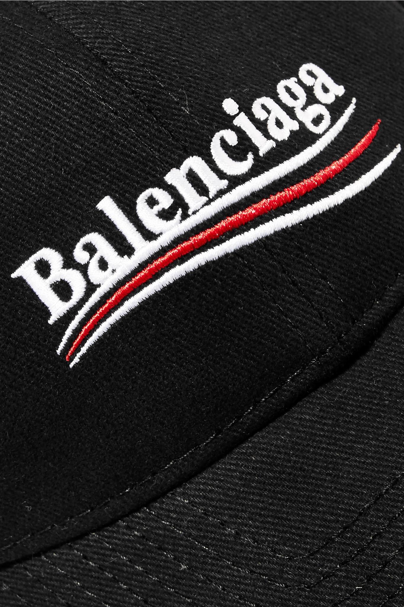 Balenciaga - Black Casquette En Serge De Coton À Broderies - Lyst. Afficher  en plein écran 64461c593ca