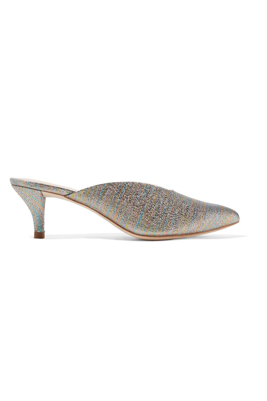 Juno Textured-lamé Mules - Gold Loeffler Randall aprHlo