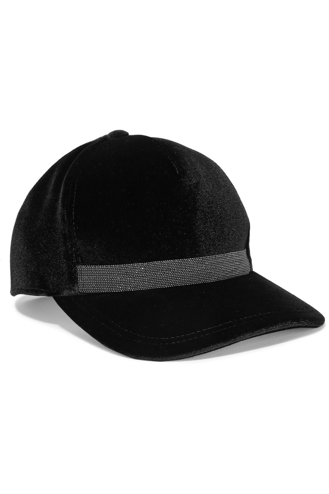 89e1e7d4bf4 Lyst - Brunello Cucinelli Embellished Velvet Baseball Cap in Black