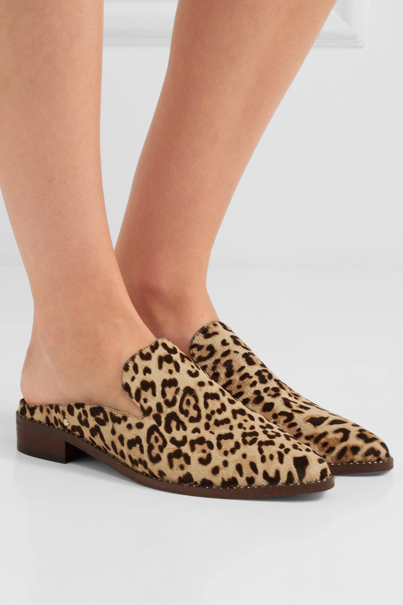5ba01a43e Sam Edelman - Brown Crystal-embellished Leopard-print Calf Hair Slippers -  Lyst. View fullscreen