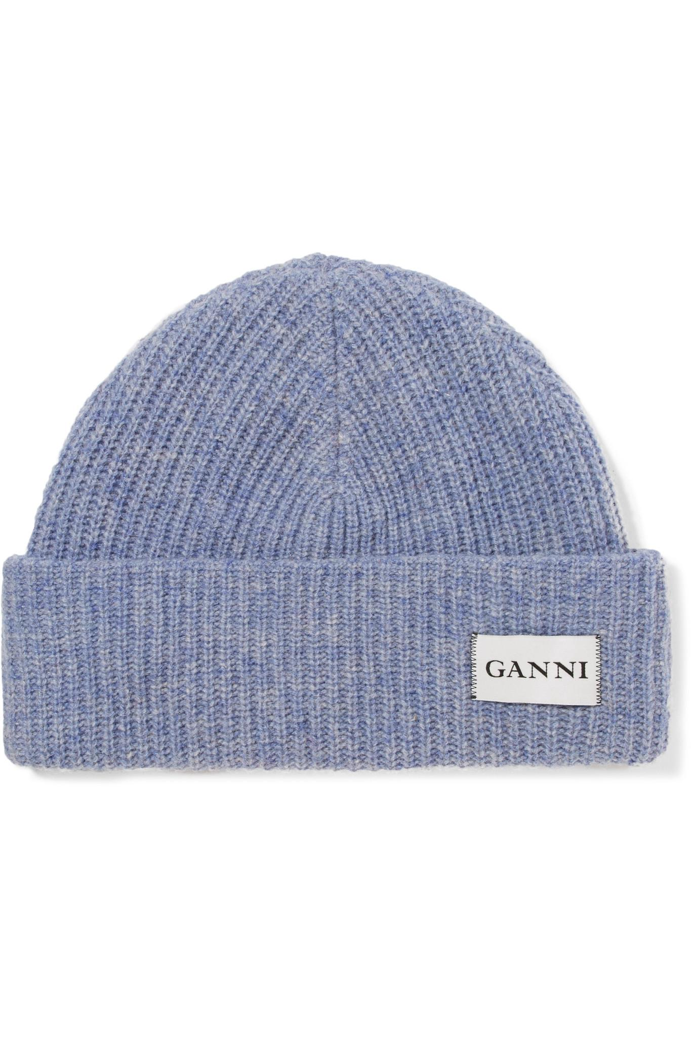 Ganni Ribbed Wool Beanie in Purple - Lyst 8c4db119bc8f
