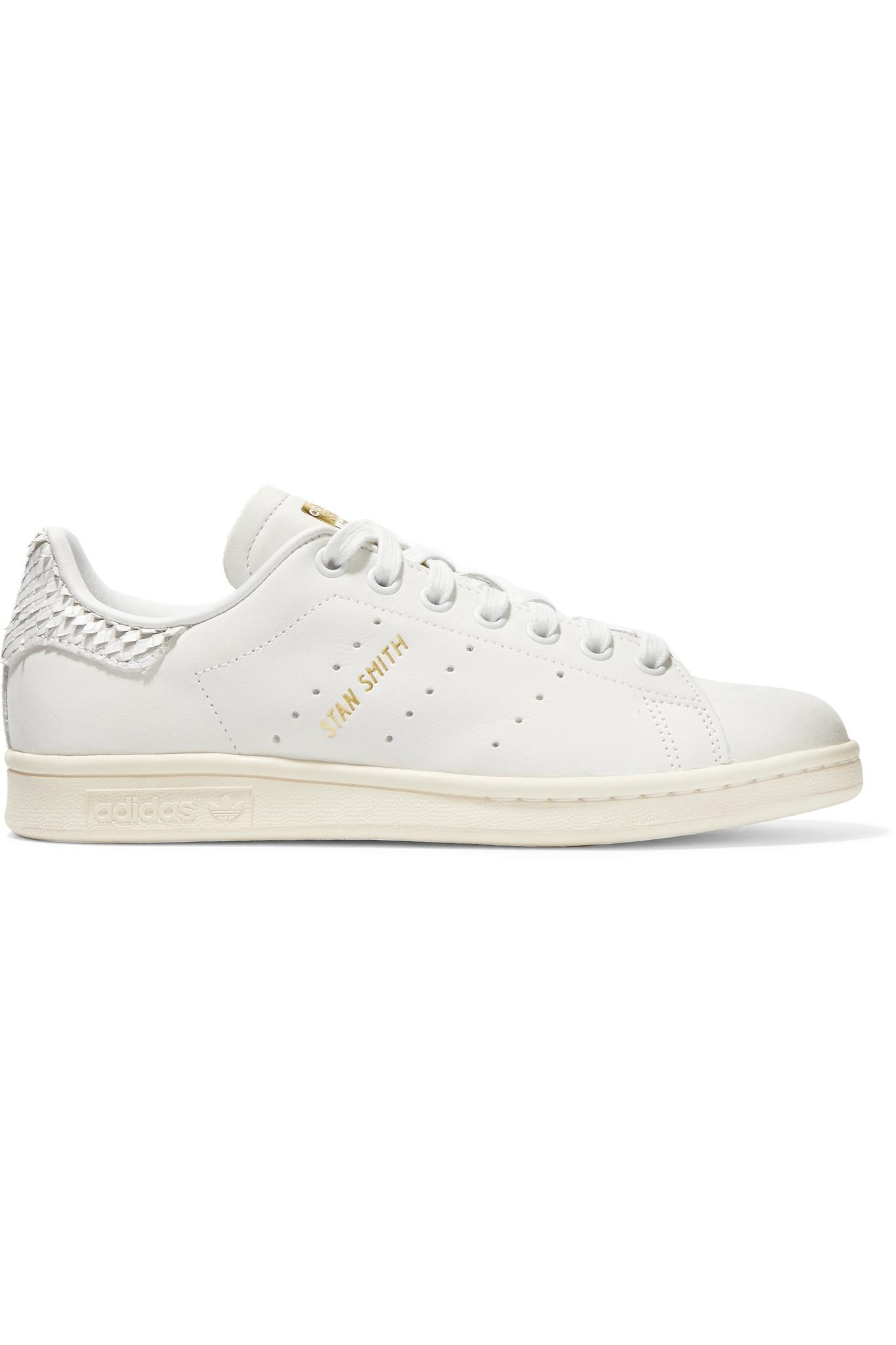 adidas Originals. Women's White Stan Smith Snake Effect-trimmed Leather  Trainers