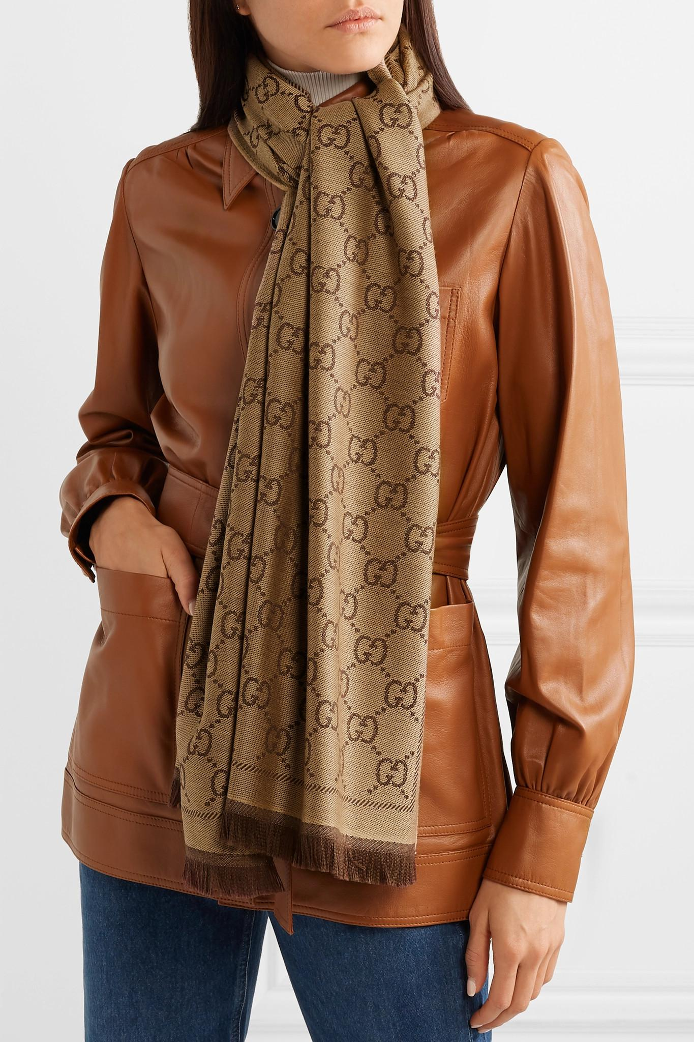 049bea906d1 Gucci - Brown Sten Reversible Intarsia Wool Scarf - Lyst. View fullscreen
