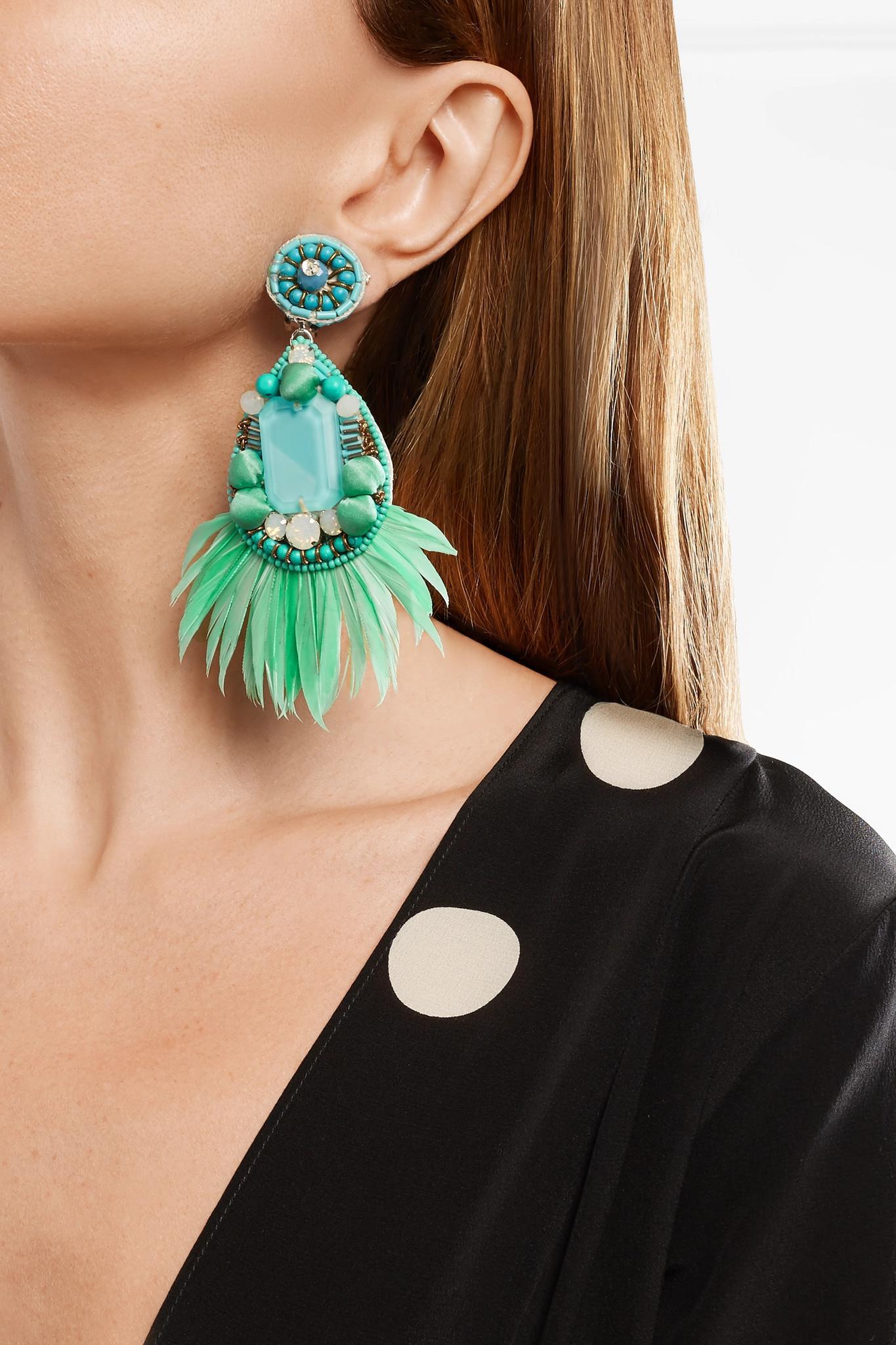 Ranjana Khan Jae Feather And Crystal Clip Earrings - Mint l5T7W