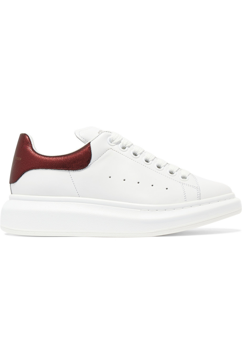 mcqueen metallic trimmed leather exaggerated