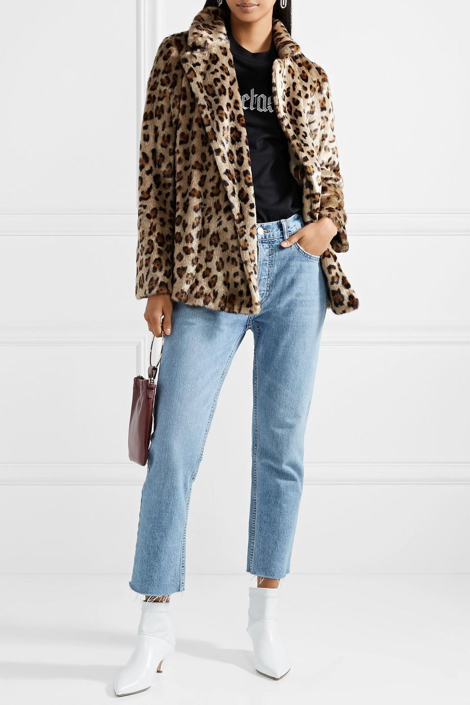 bfce5d0ac45d Theory Clairene Leopard-print Faux Fur Jacket in Brown - Lyst