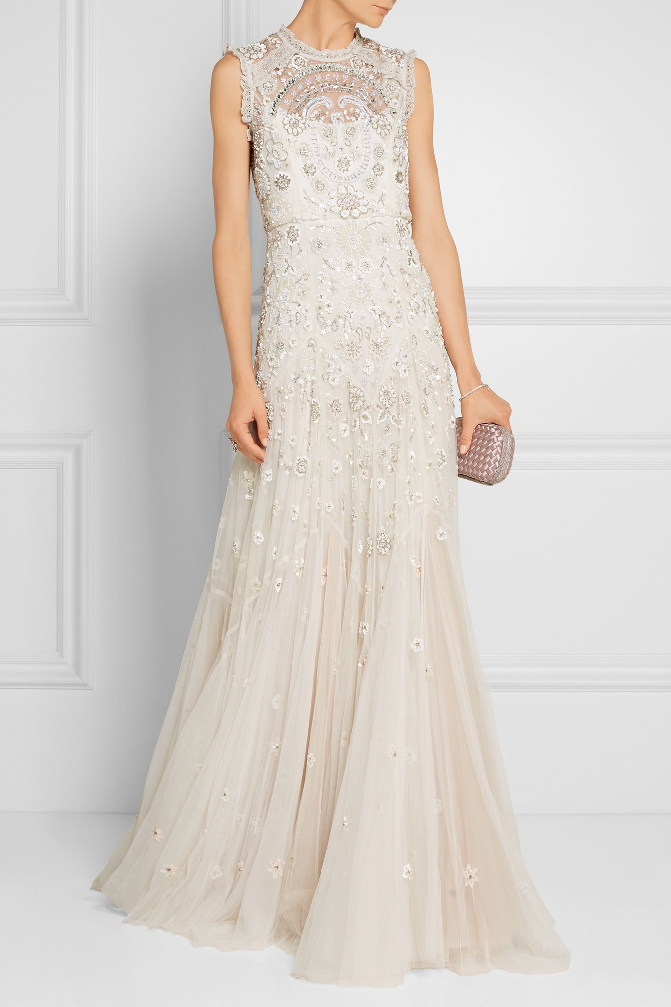 21a13edb2f18 Lyst - Needle   Thread Bridal Lace-Trimmed Embellished Tulle Gown in ...