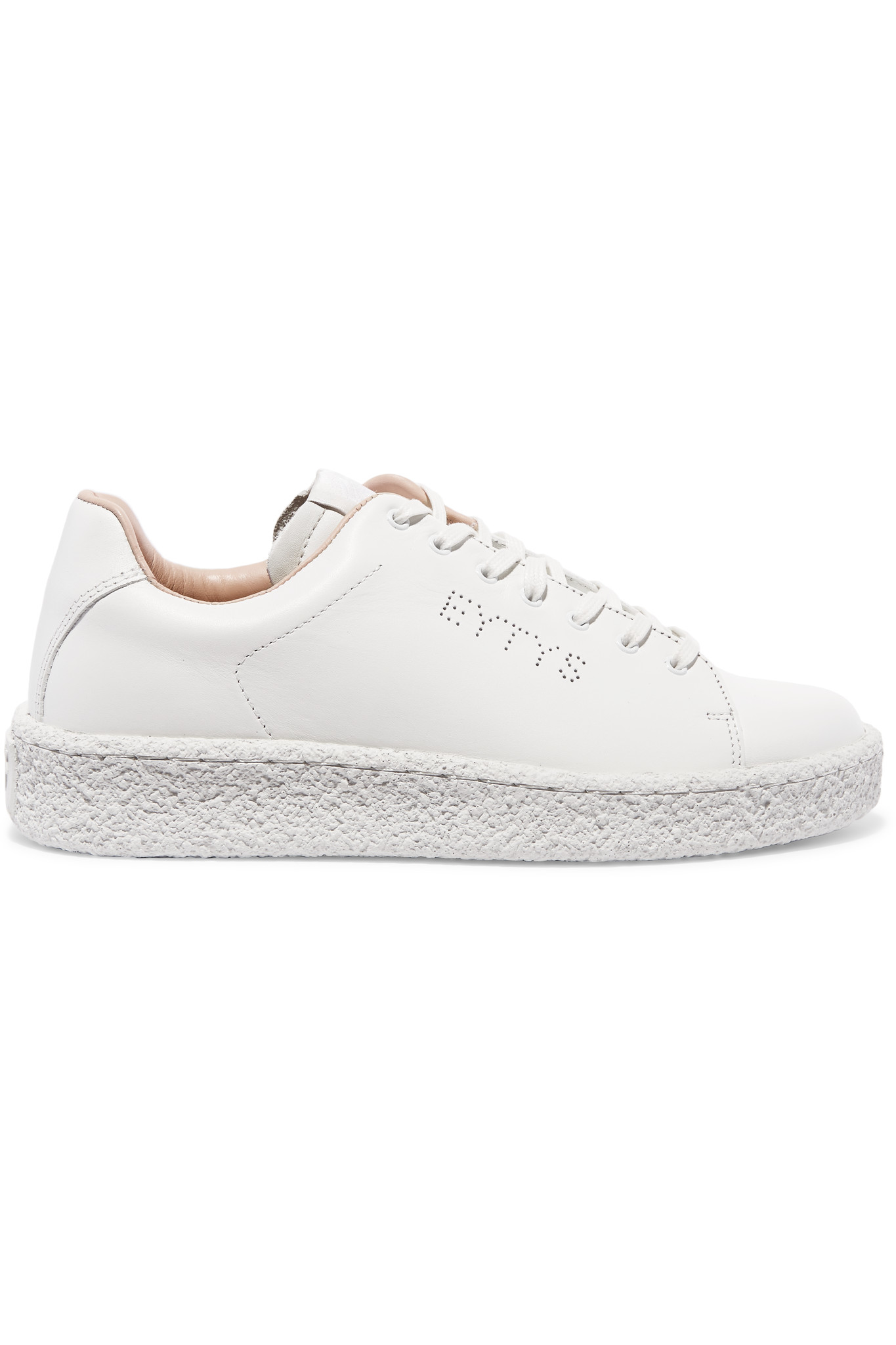 eytys ace perforated leather sneakers in white lyst