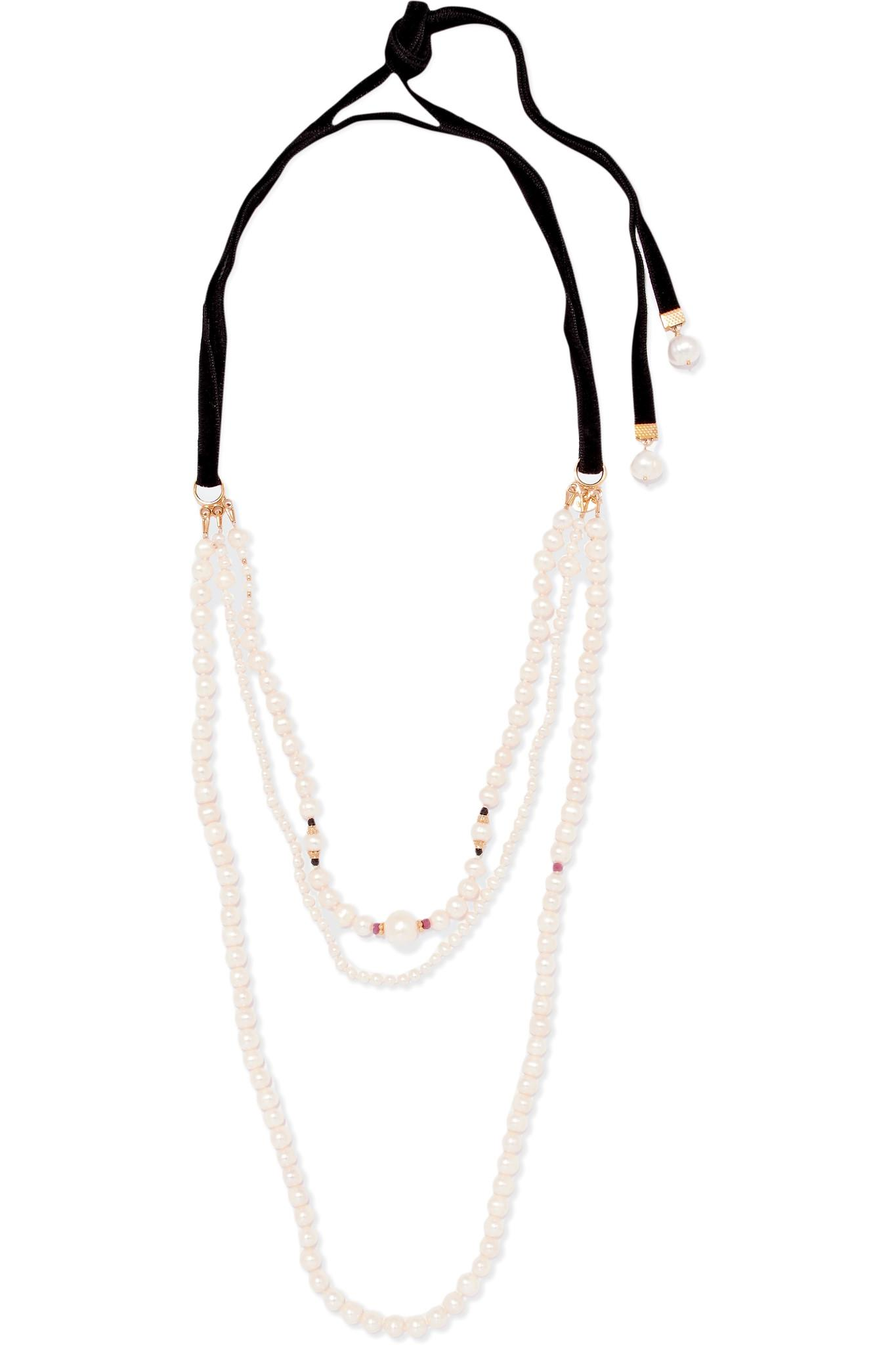 Magda Butrym pearl and gold necklace - White QKOBWjx