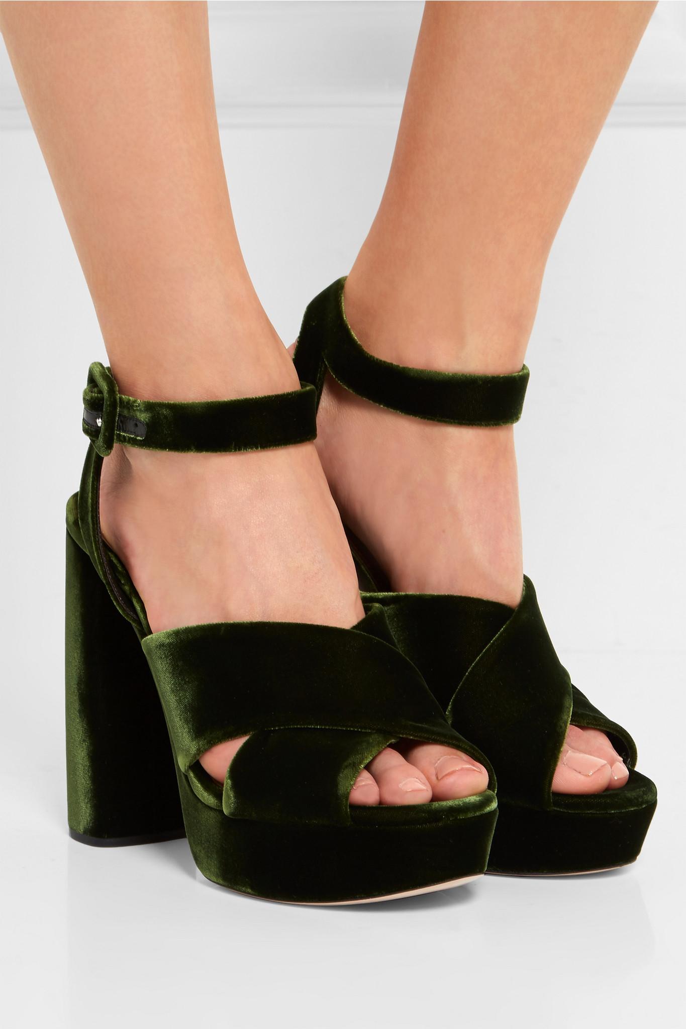 10e3b5733c6 Lyst - Miu Miu Velvet Platform Sandals