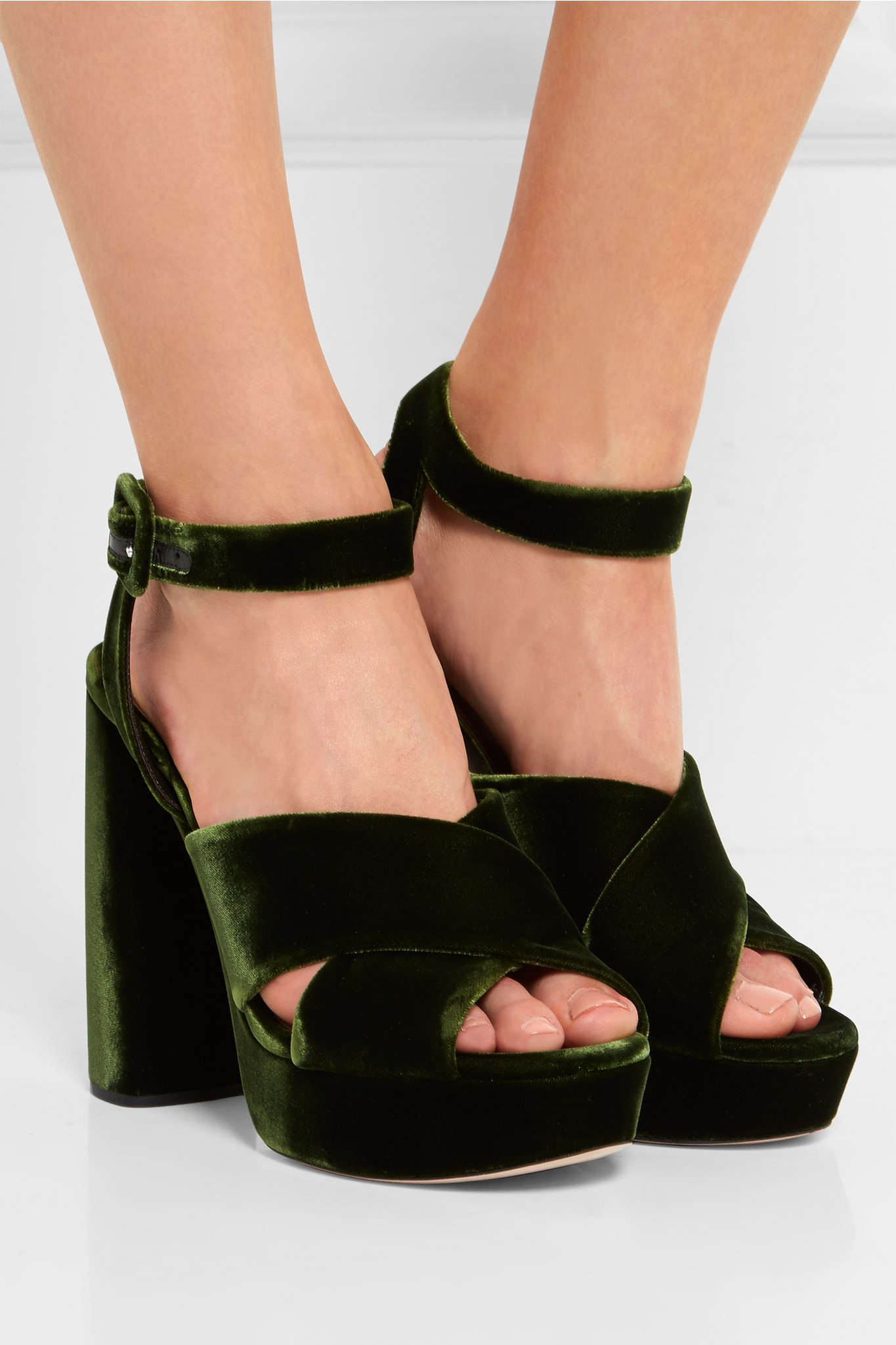 258cf13daf3 Lyst - Miu Miu Velvet Platform Sandals