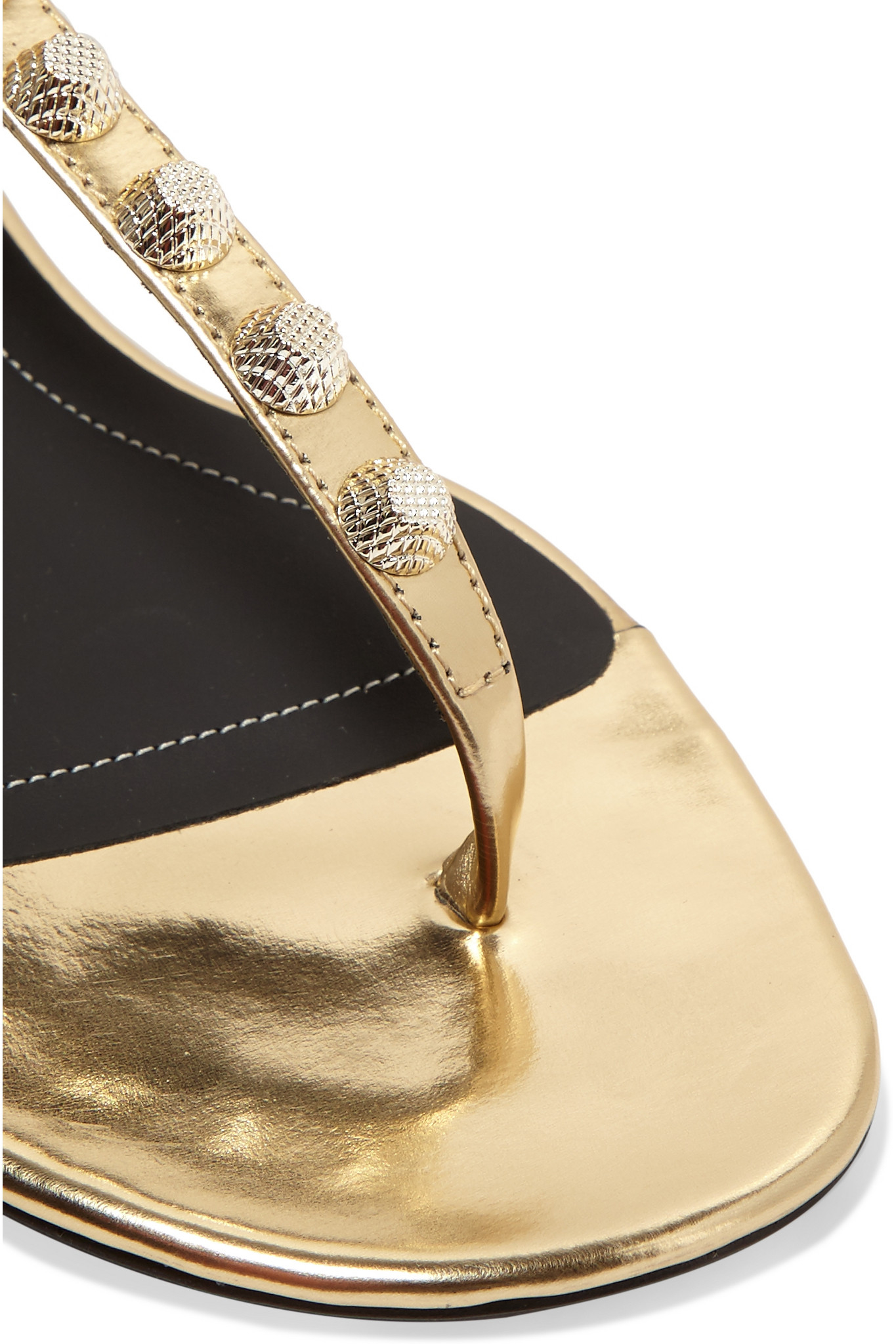 Lyst Balenciaga Metallic Studded Leather Sandals In Metallic